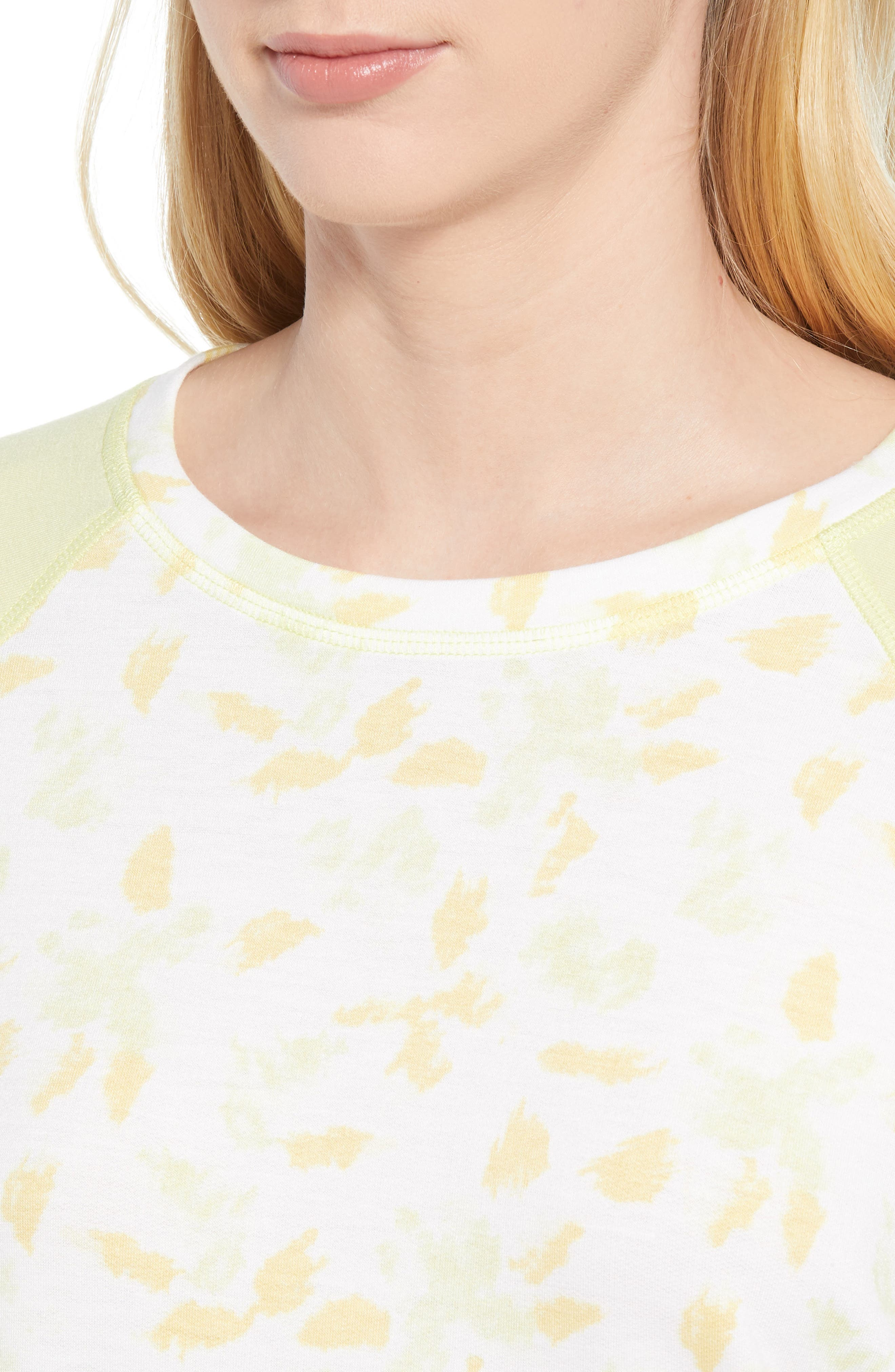 Off Duty Raglan Sleeve Sweatshirt,                             Alternate thumbnail 4, color,                             Ivory- Yellow Fleurs De Laine