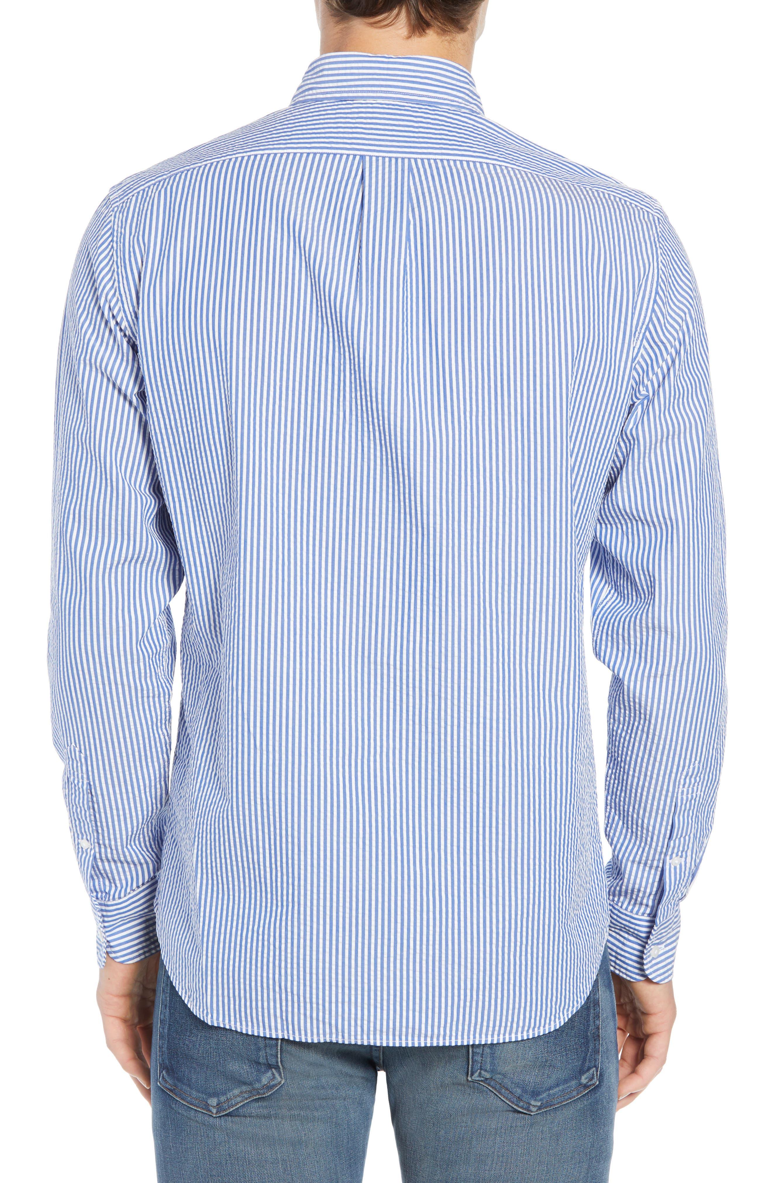 Seersucker Sport Shirt,                             Alternate thumbnail 4, color,                             White Blue