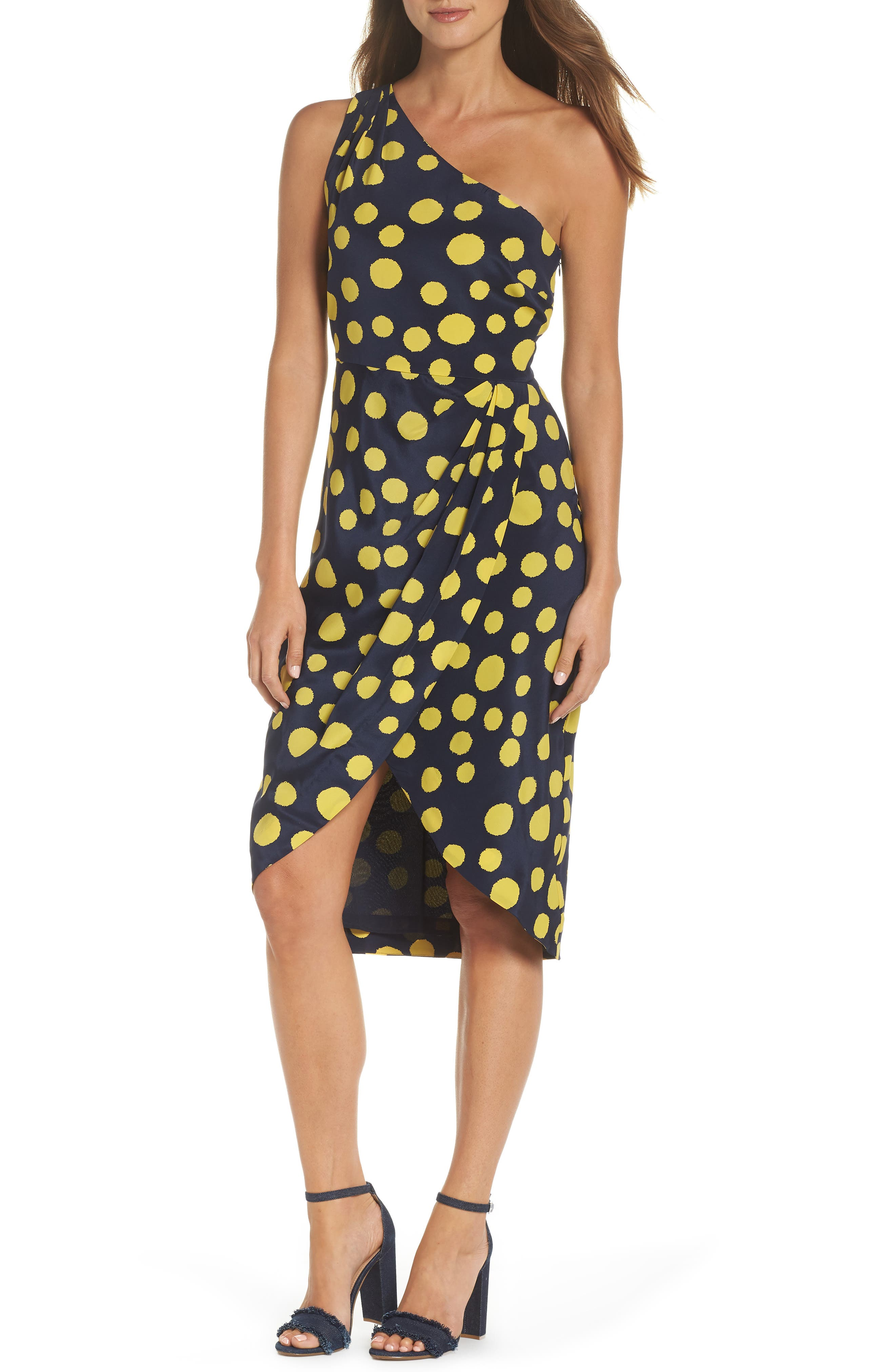 Polka Dot One-Shoulder Silk Dress,                         Main,                         color, Navy