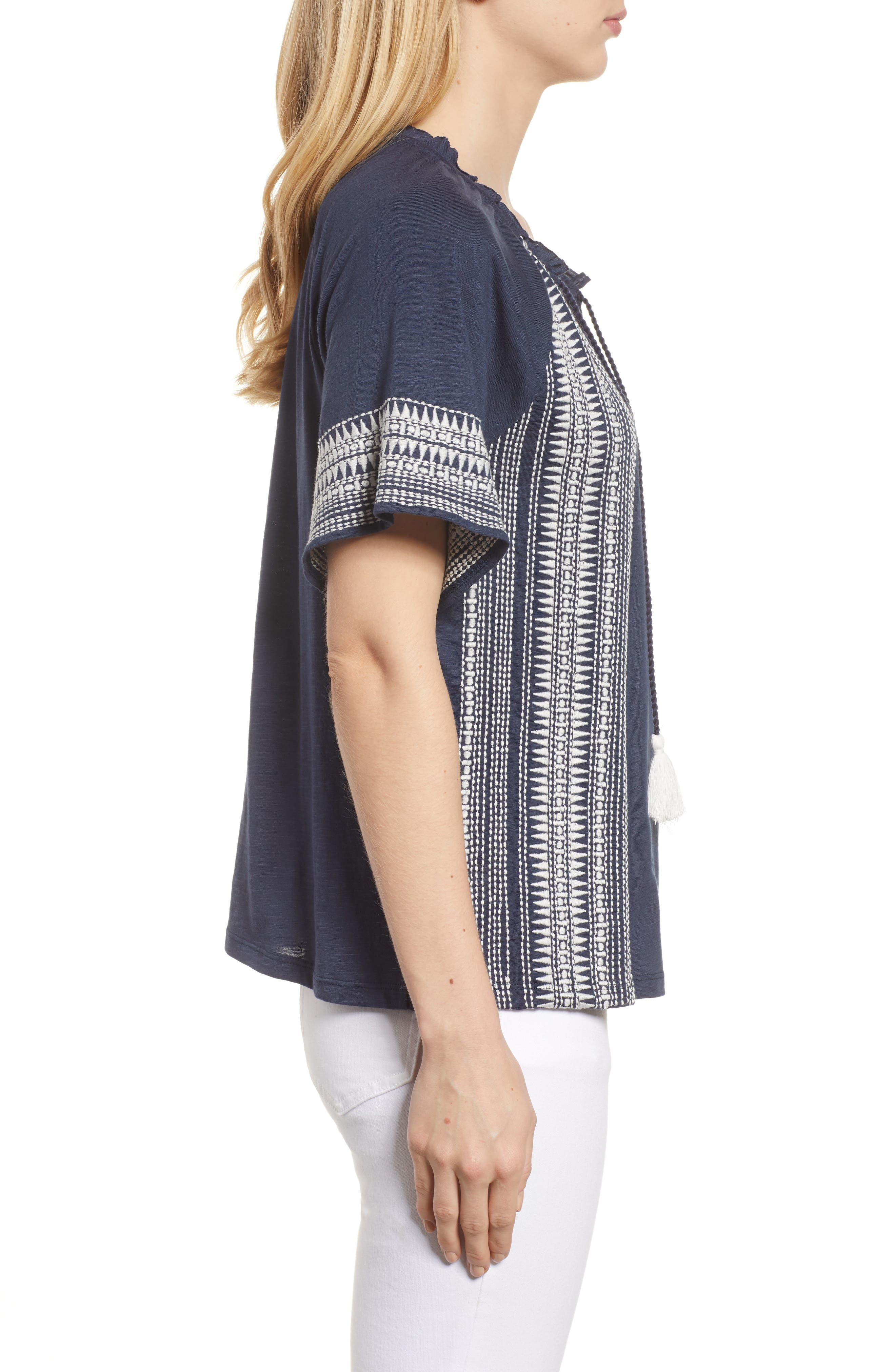 Embroidered Border Peasant Top,                             Alternate thumbnail 3, color,                             Navy- Ivory Dita
