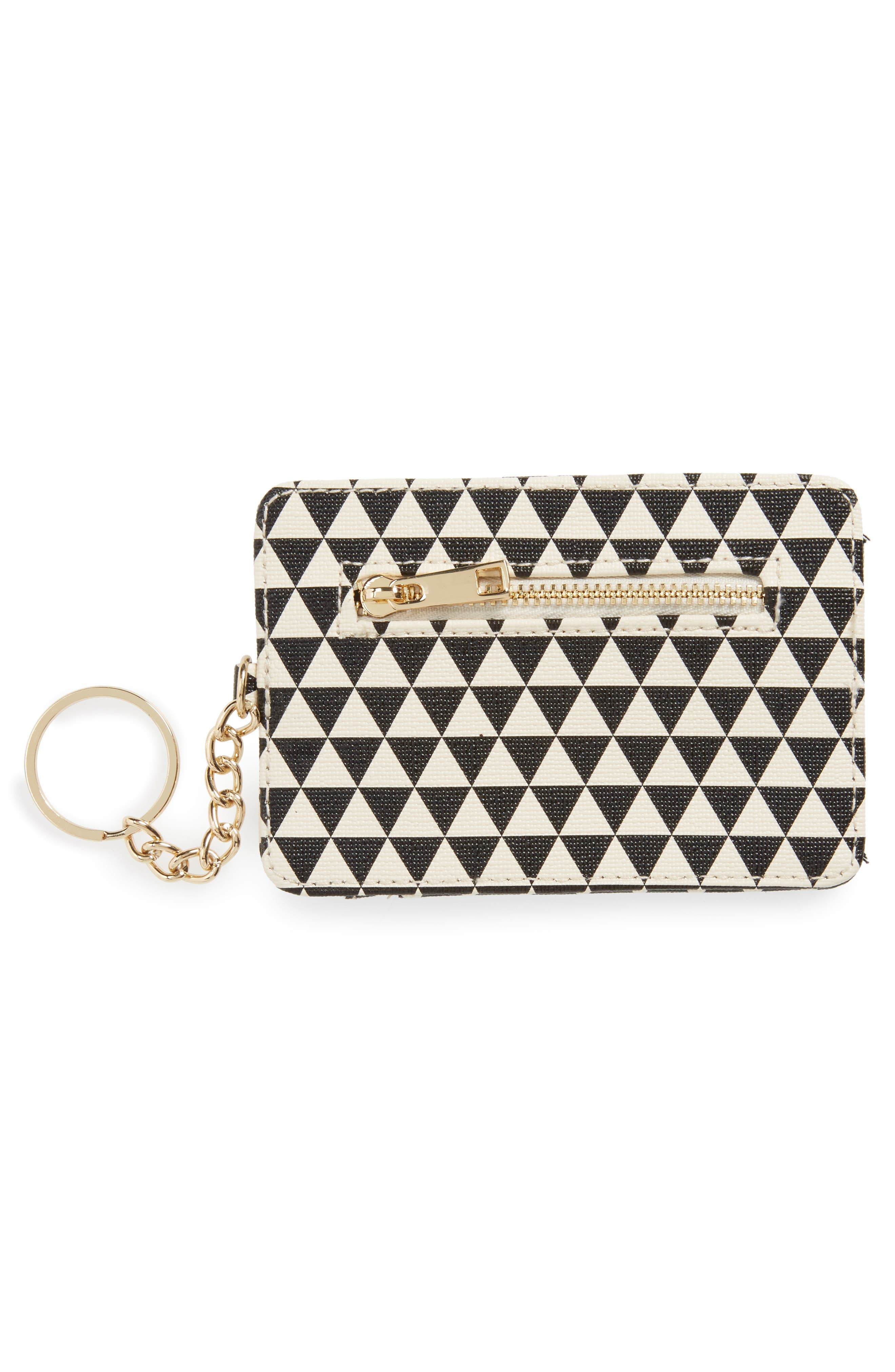 Geo Print Keychain Card Case,                             Alternate thumbnail 2, color,                             Natural/ Black