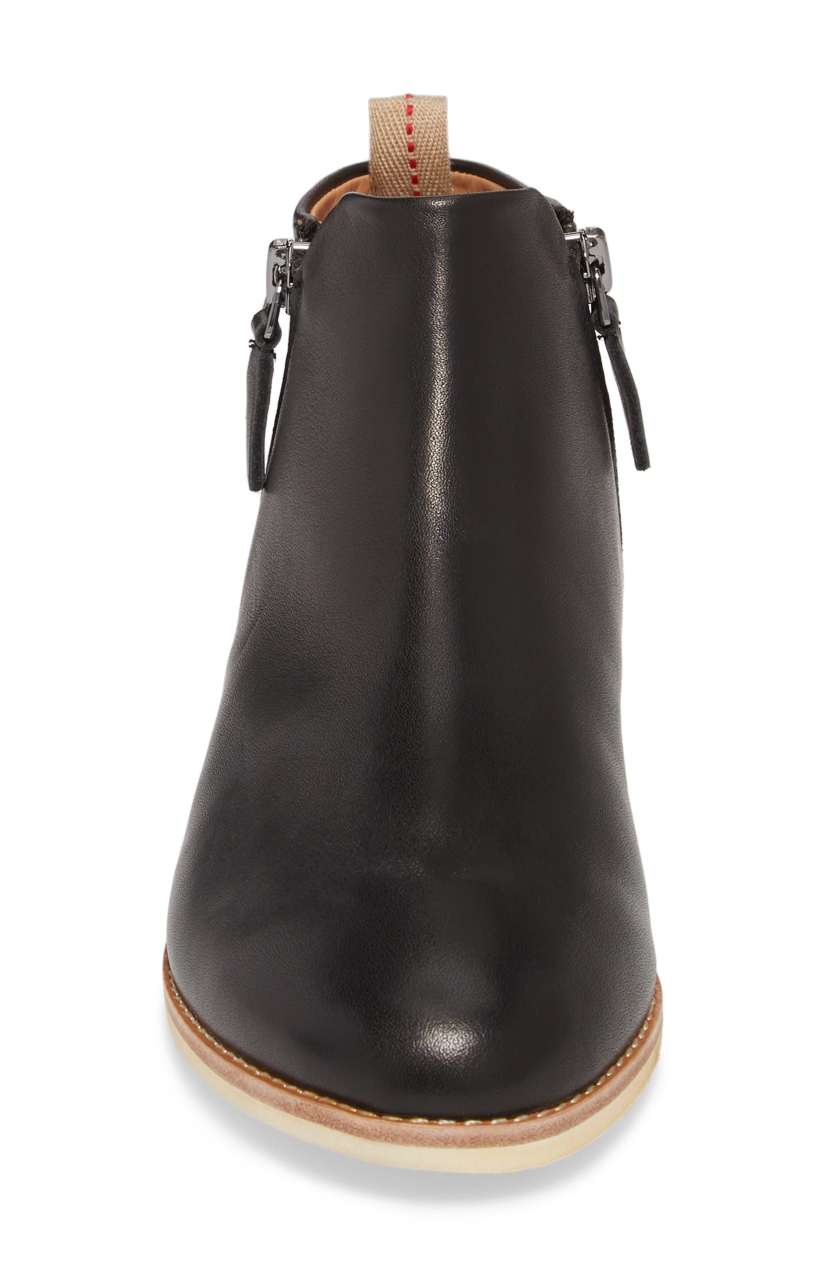 Double Zip Bootie,                             Alternate thumbnail 4, color,                             Black Leather