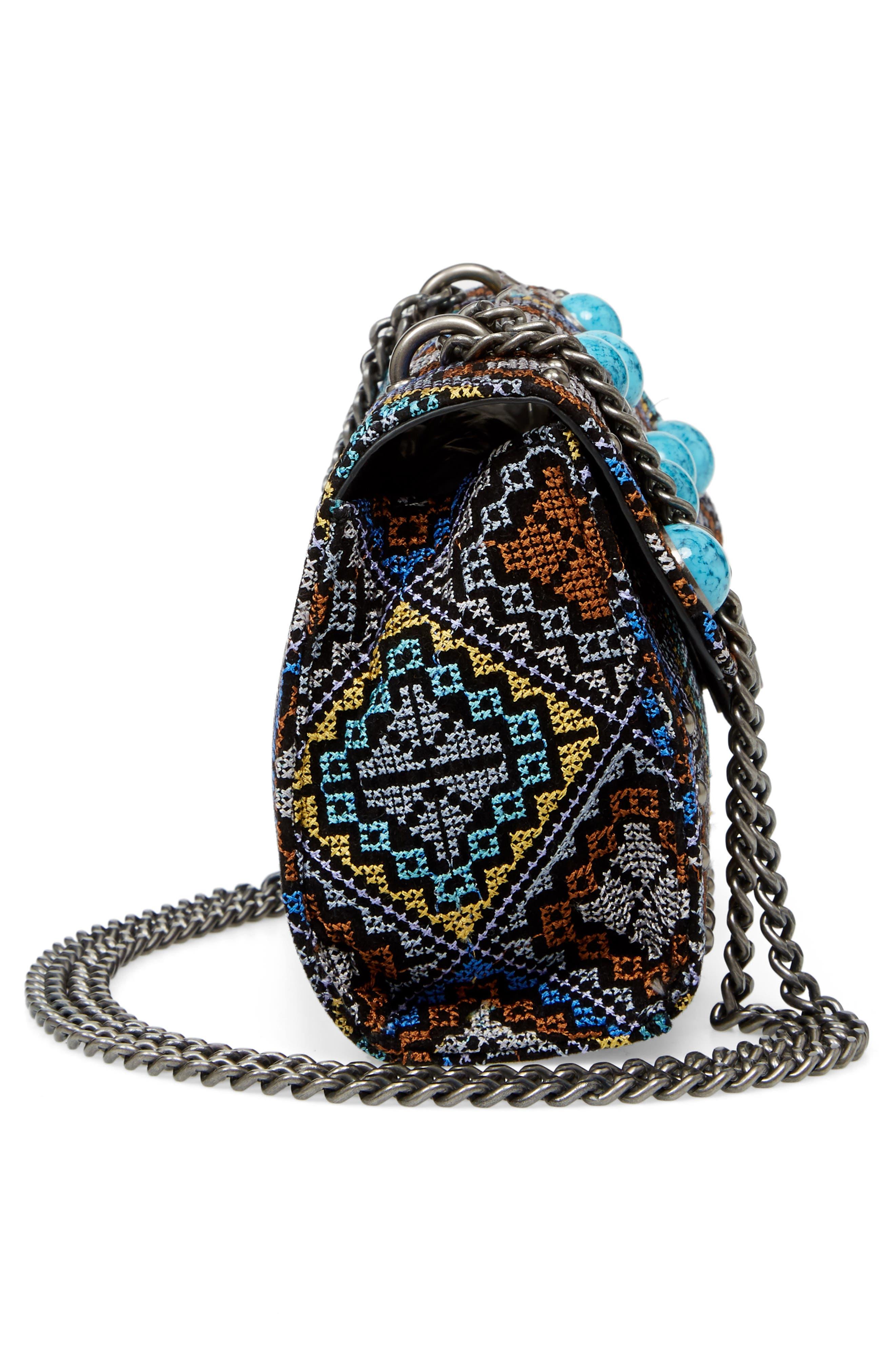 Embroidered Shoulder Bag,                             Alternate thumbnail 5, color,                             Silver Multi