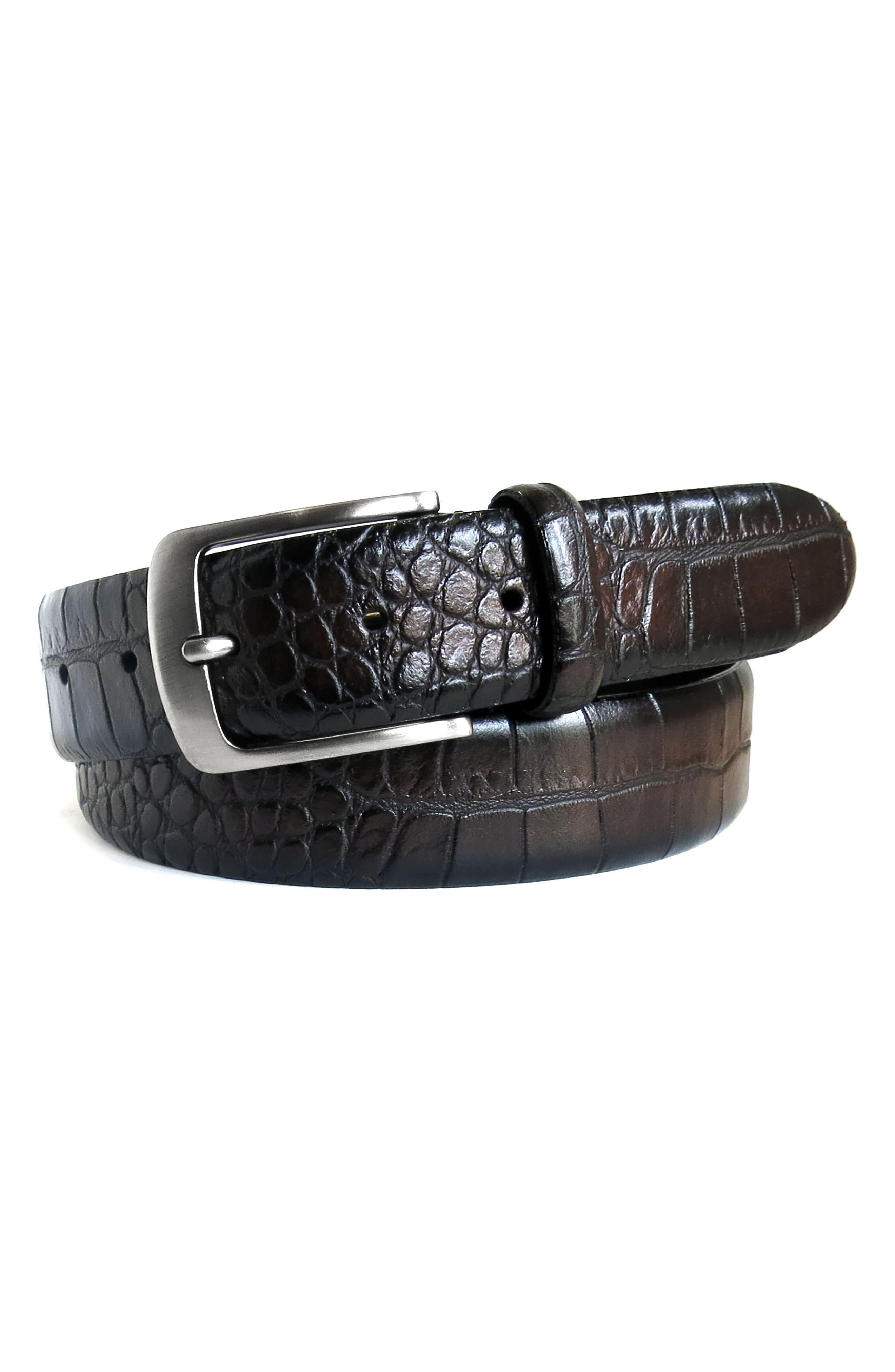 Croc Embossed Leather Belt,                             Main thumbnail 1, color,                             Espresso