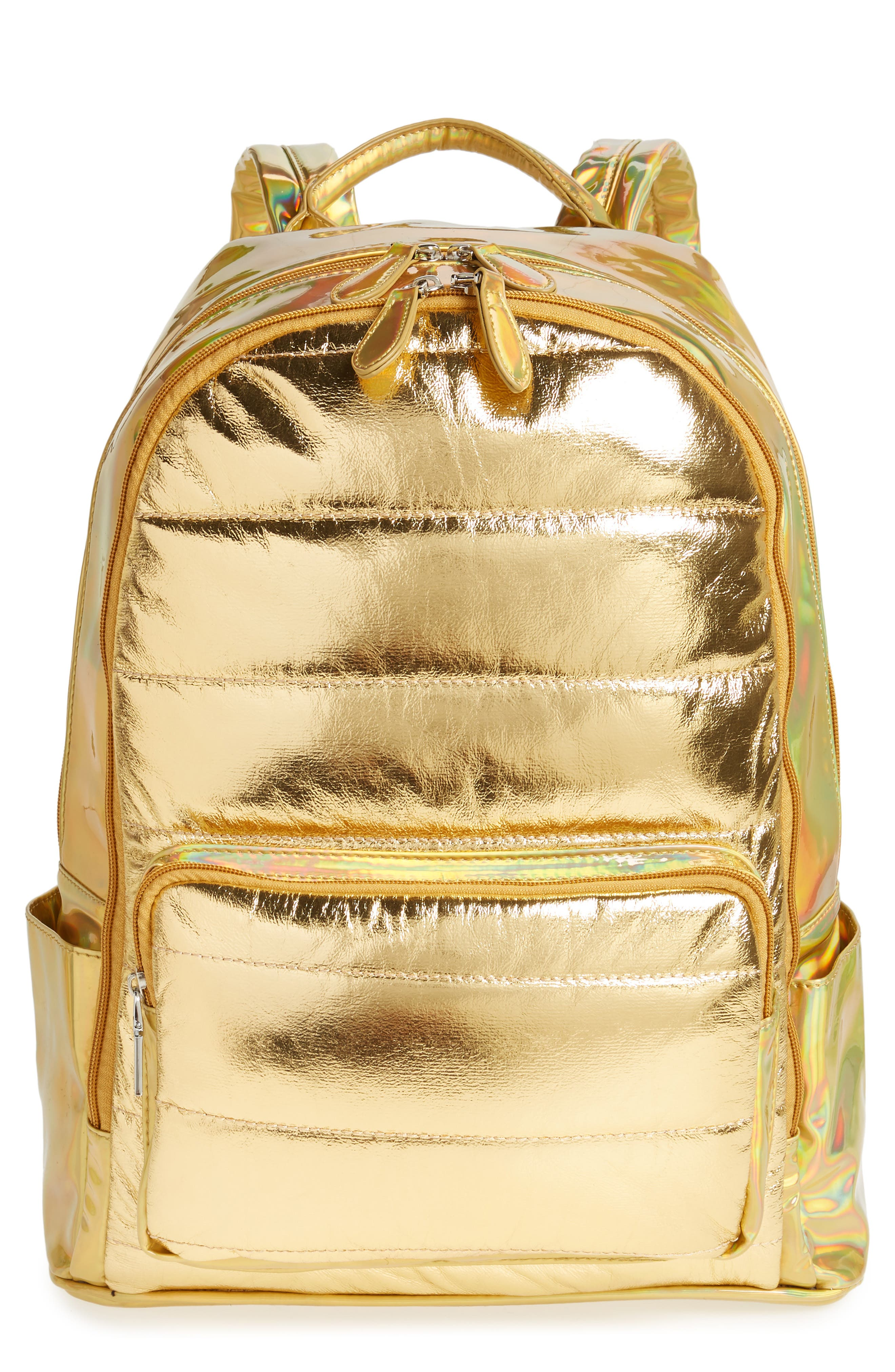 Quilted Metallic Holographic Backpack,                         Main,                         color, Gold