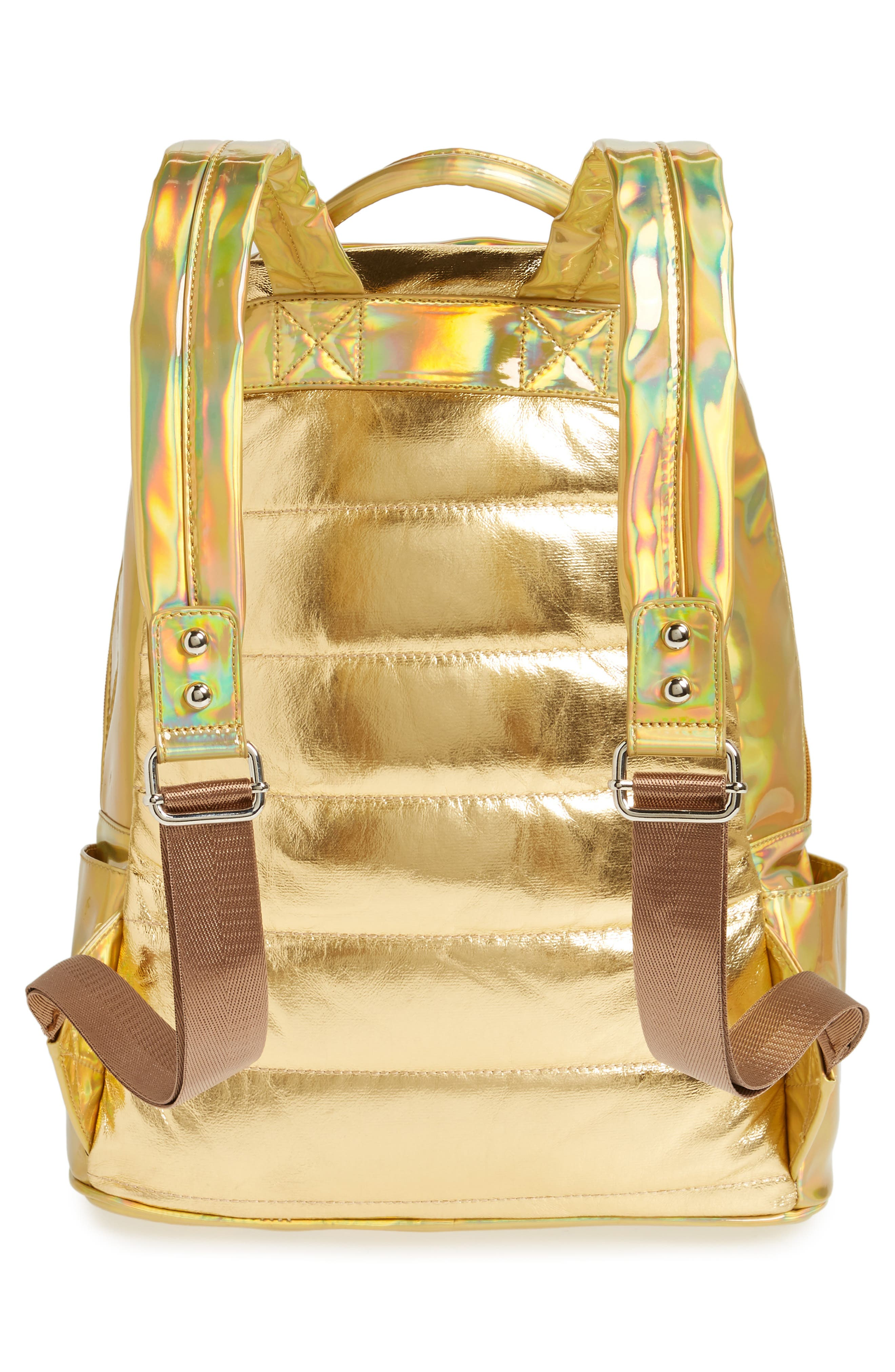 Quilted Metallic Holographic Backpack,                             Alternate thumbnail 2, color,                             Gold