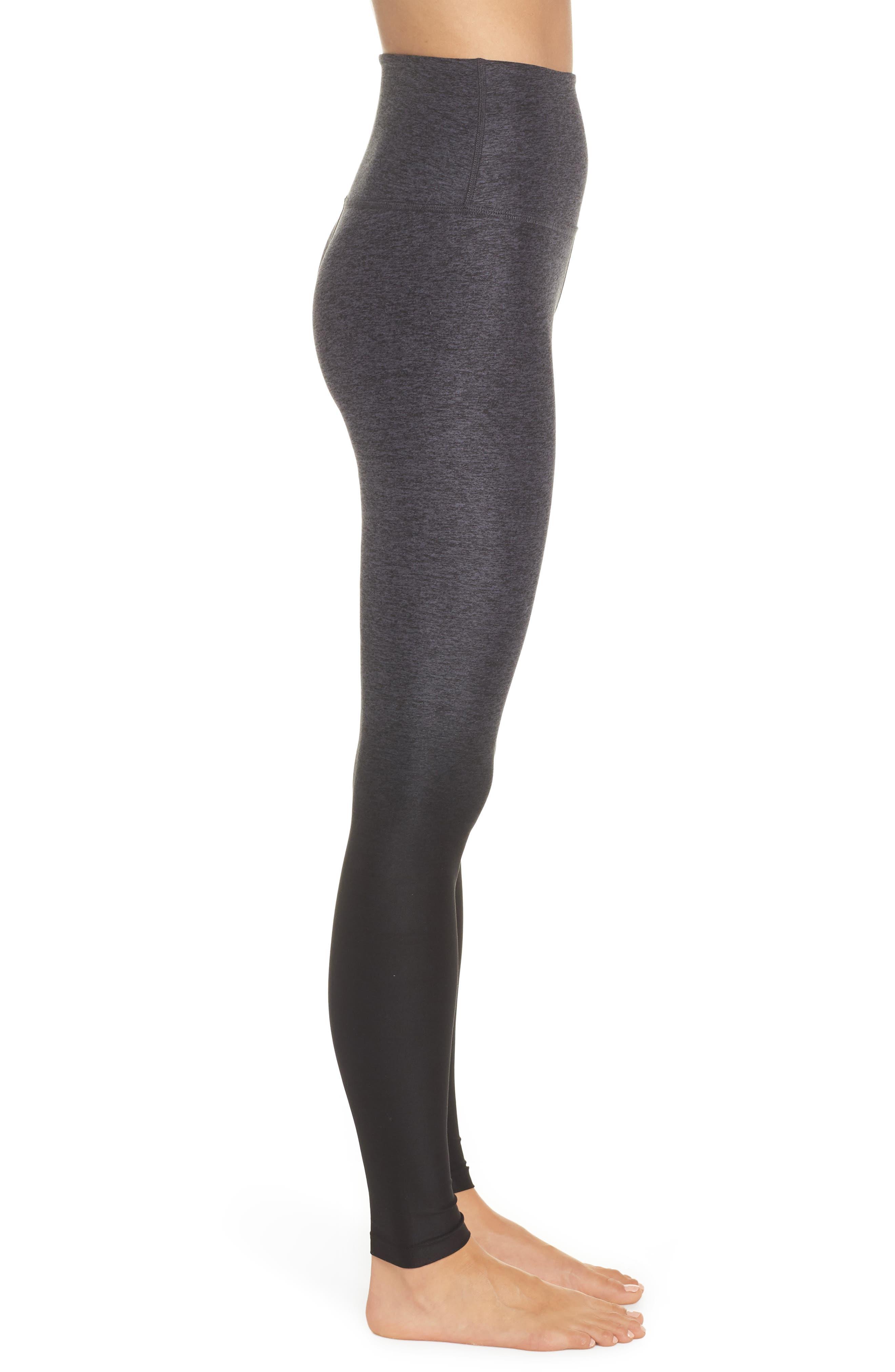 Space Dye High Waist Leggings,                             Alternate thumbnail 6, color,                             Black Steel Ombre