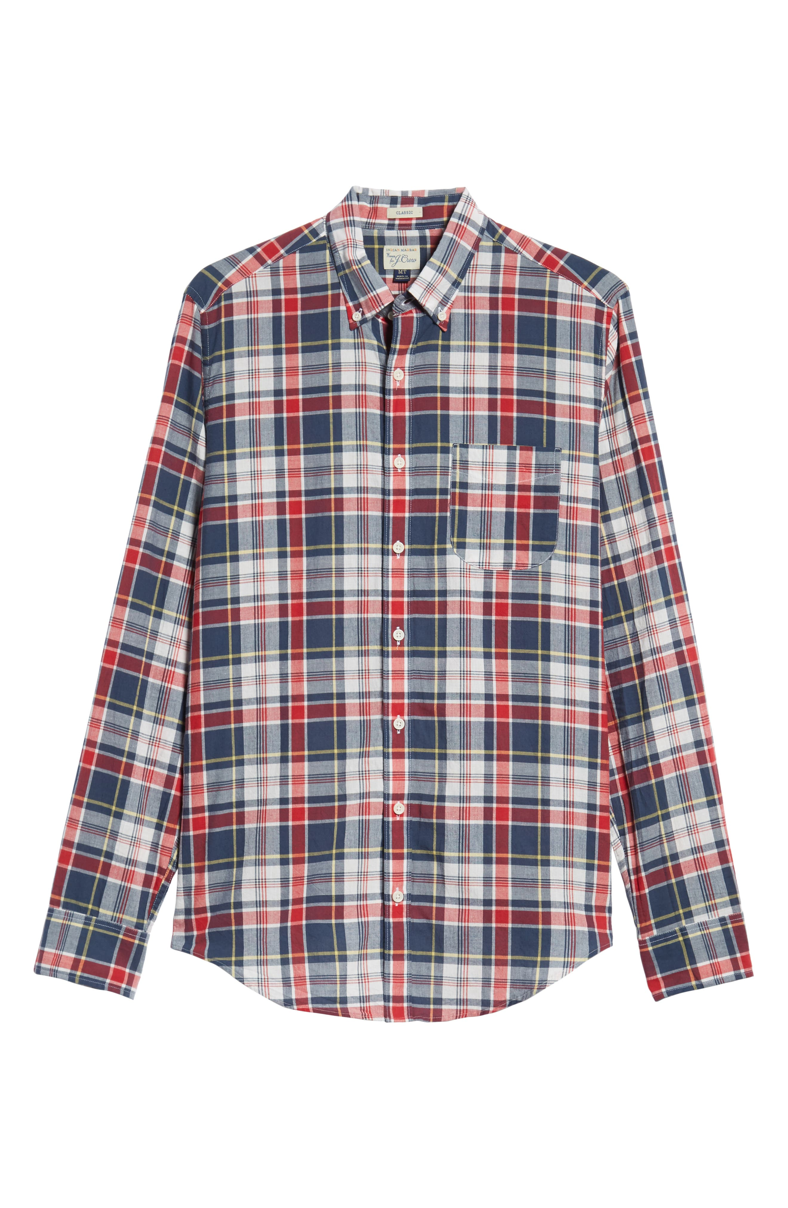 Regular Fit Madras Plaid Sport Shirt,                             Alternate thumbnail 5, color,                             Navy Ink