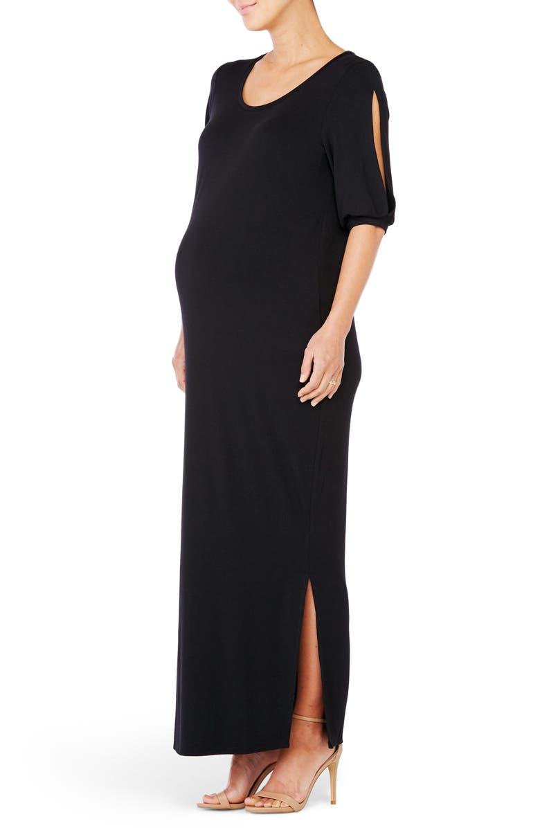 Split Sleeve Knit Maternity Maxi Dress