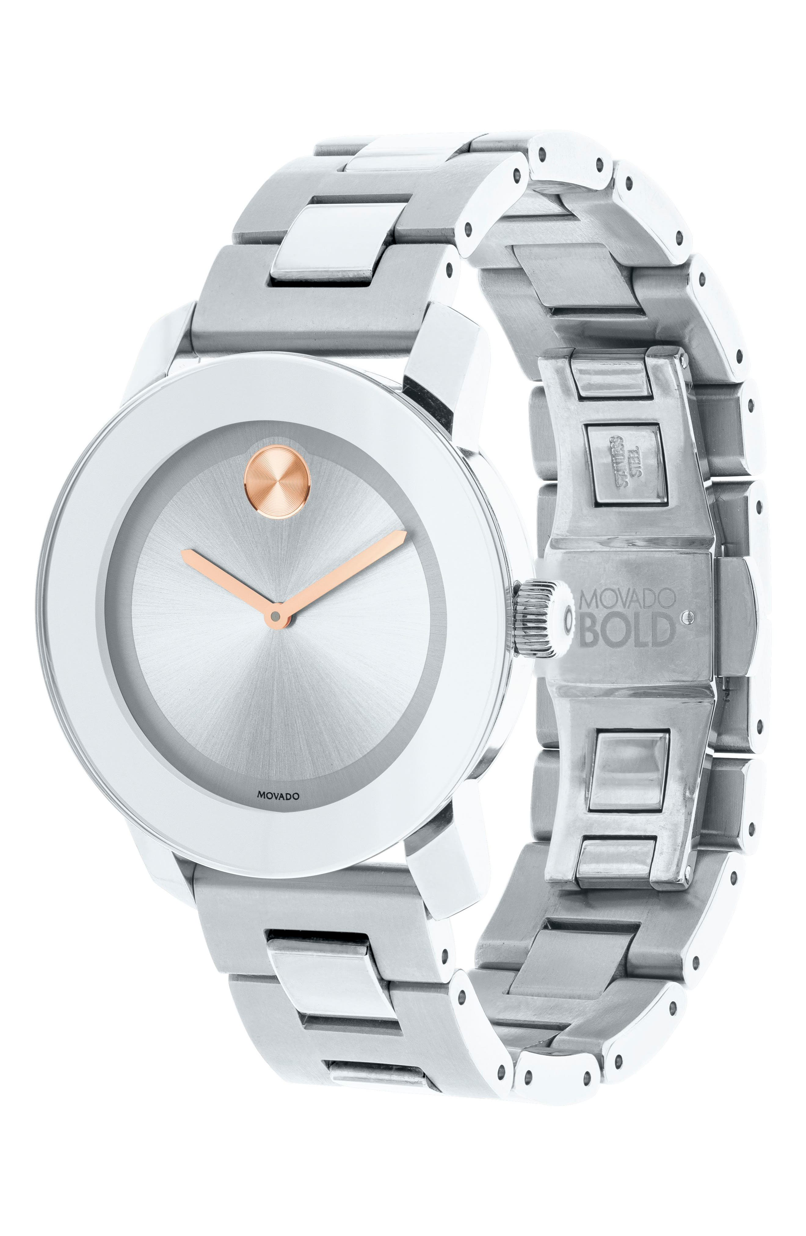 'Bold' Round Bracelet Watch, 36mm,                             Alternate thumbnail 3, color,                             Silver