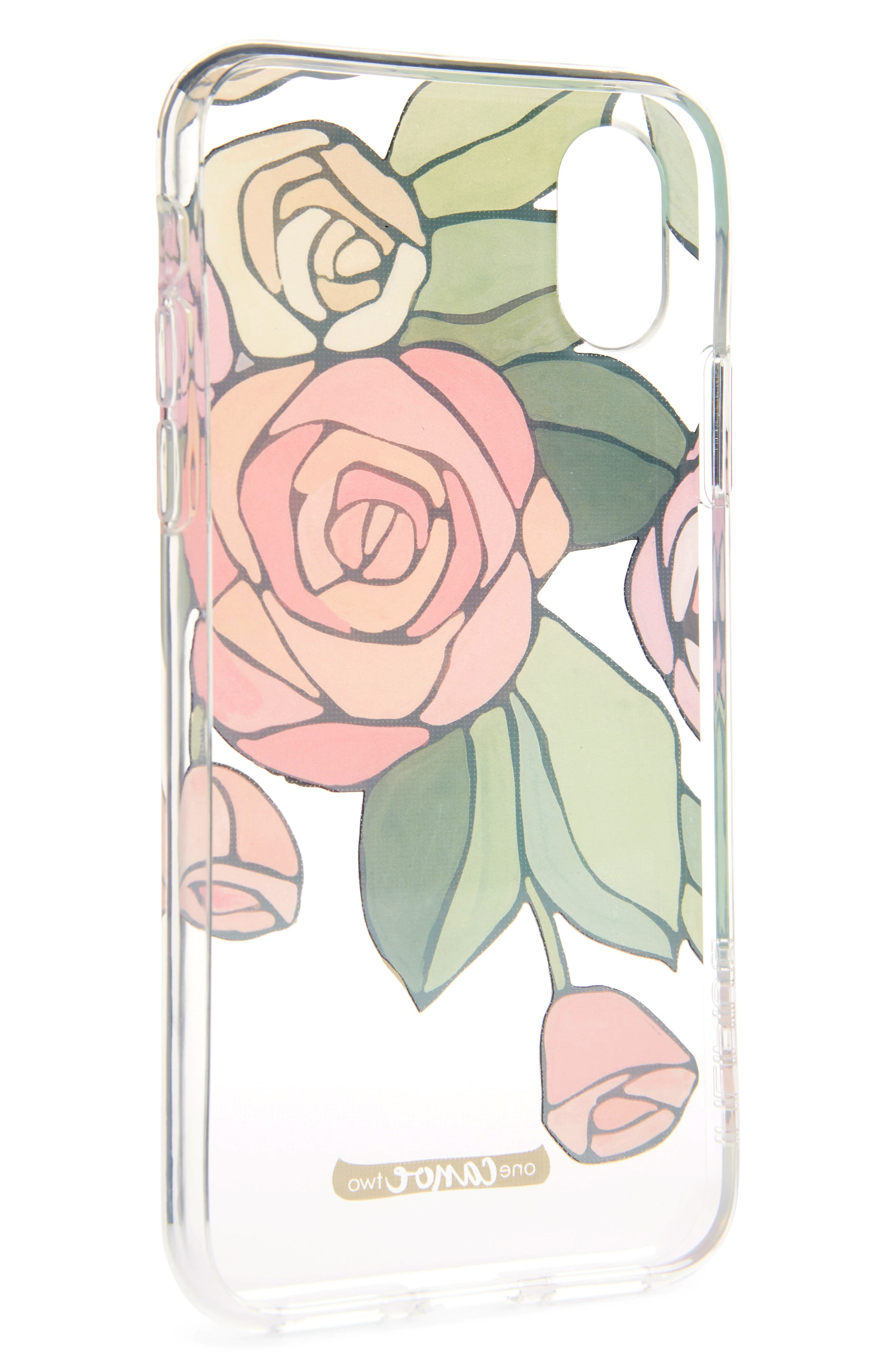 One Canoe Two Roses iPhone X & Xs Case,                             Alternate thumbnail 2, color,                             Pink/ Clear Multi