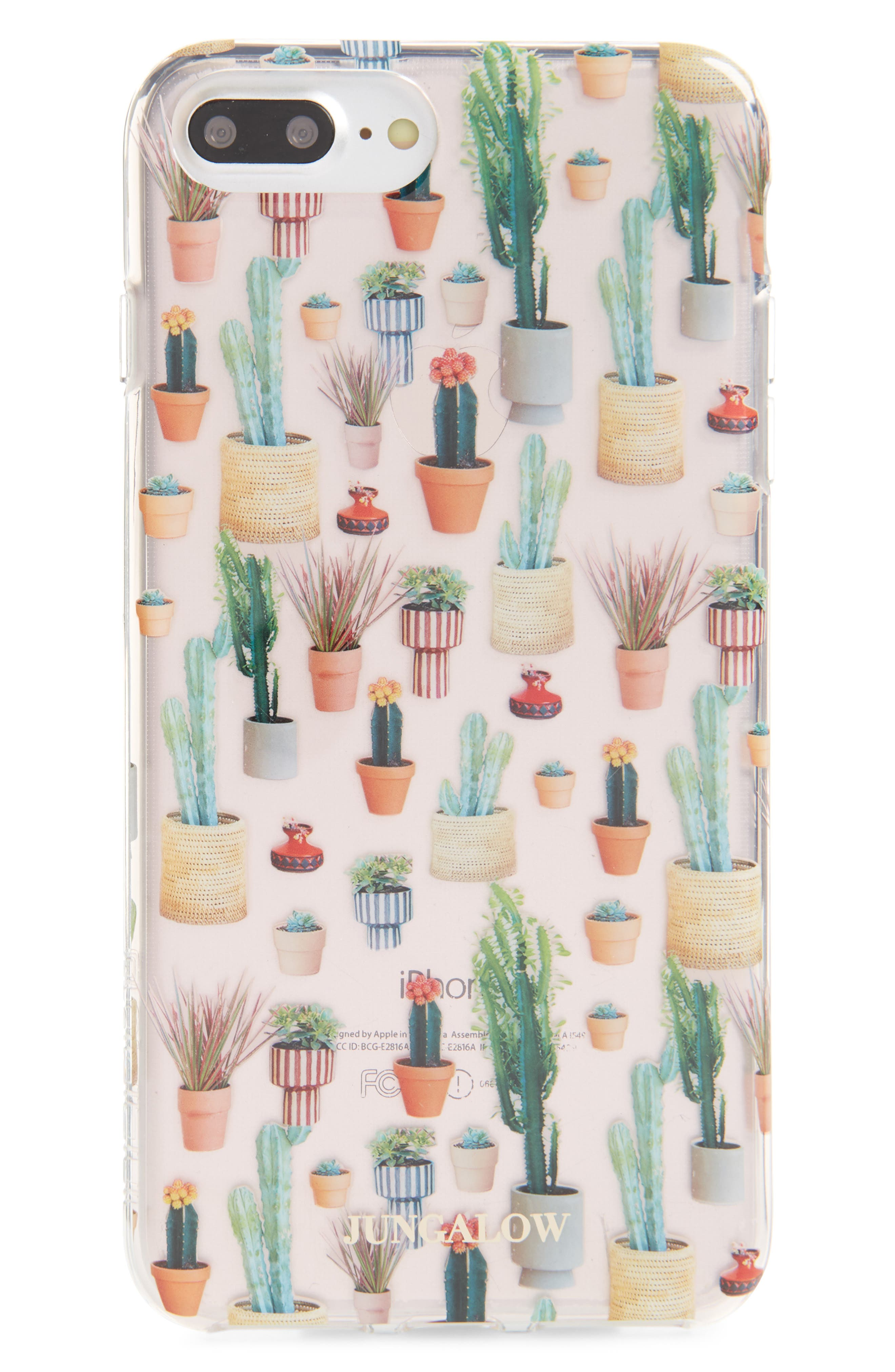 Jungalow Potted Plant iPhone 7/8 & 7/8 Plus Case,                             Main thumbnail 1, color,                             Clear Multi