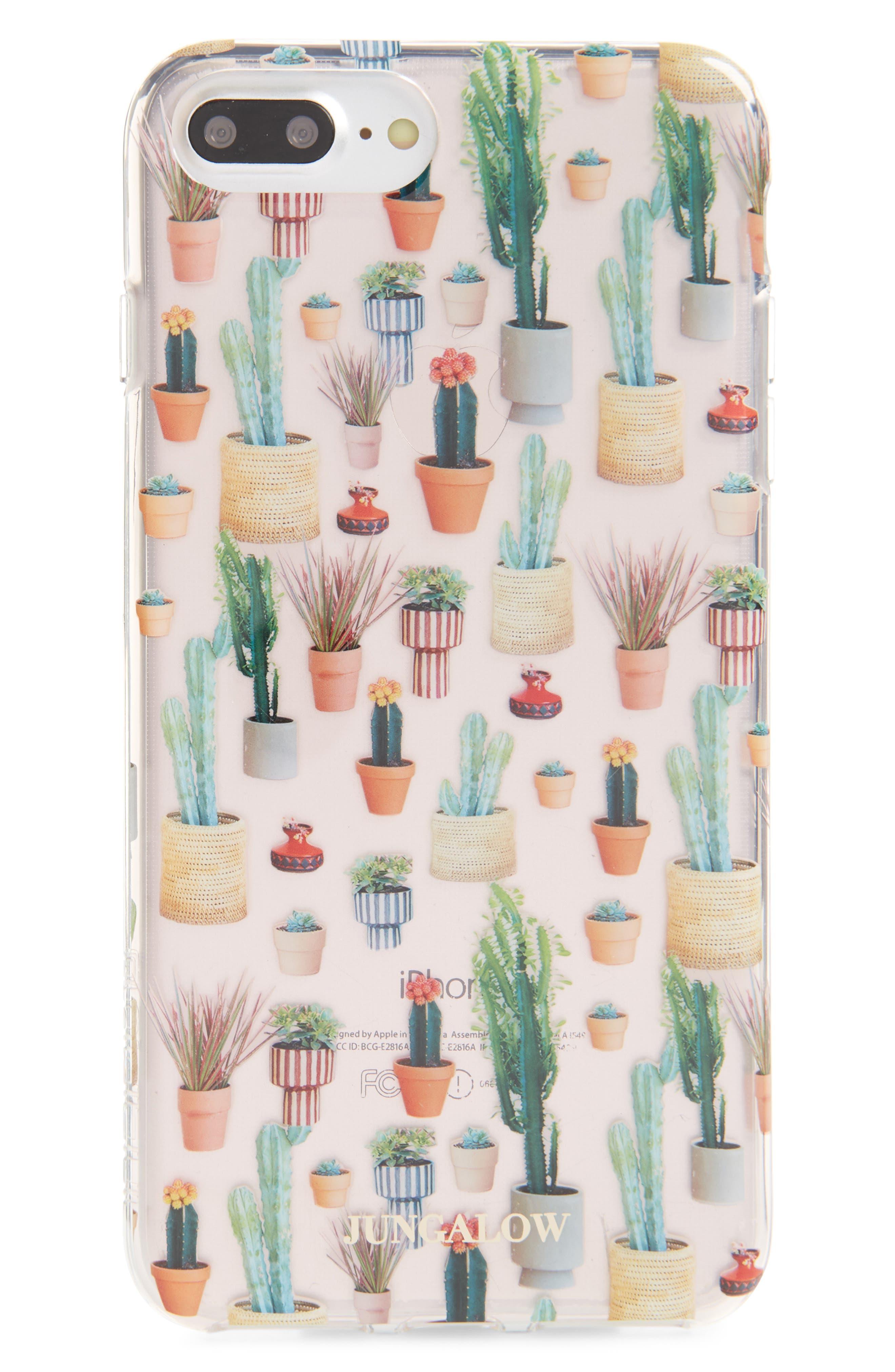 Jungalow Potted Plant iPhone 7/8 & 7/8 Plus Case,                         Main,                         color, Clear Multi