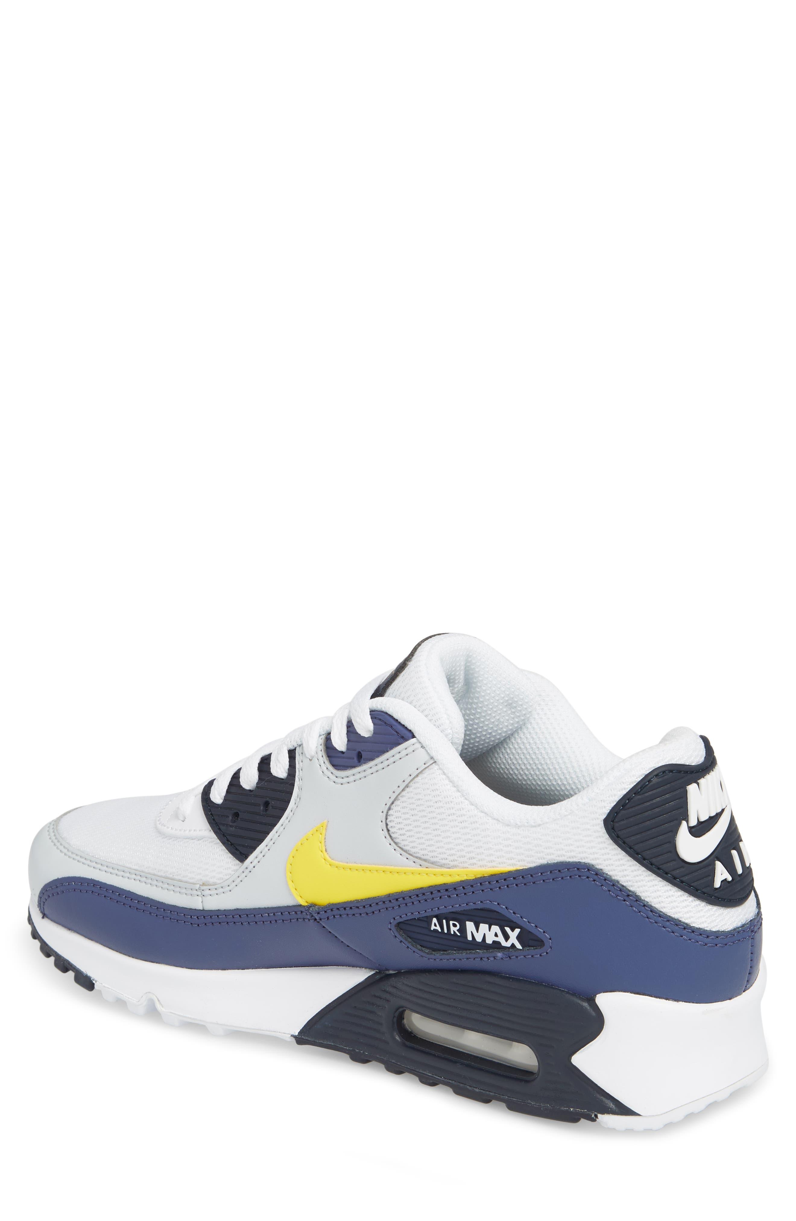 Air Max 90 Essential Sneaker,                             Alternate thumbnail 2, color,                             White/ Tour Yellow/ Blue
