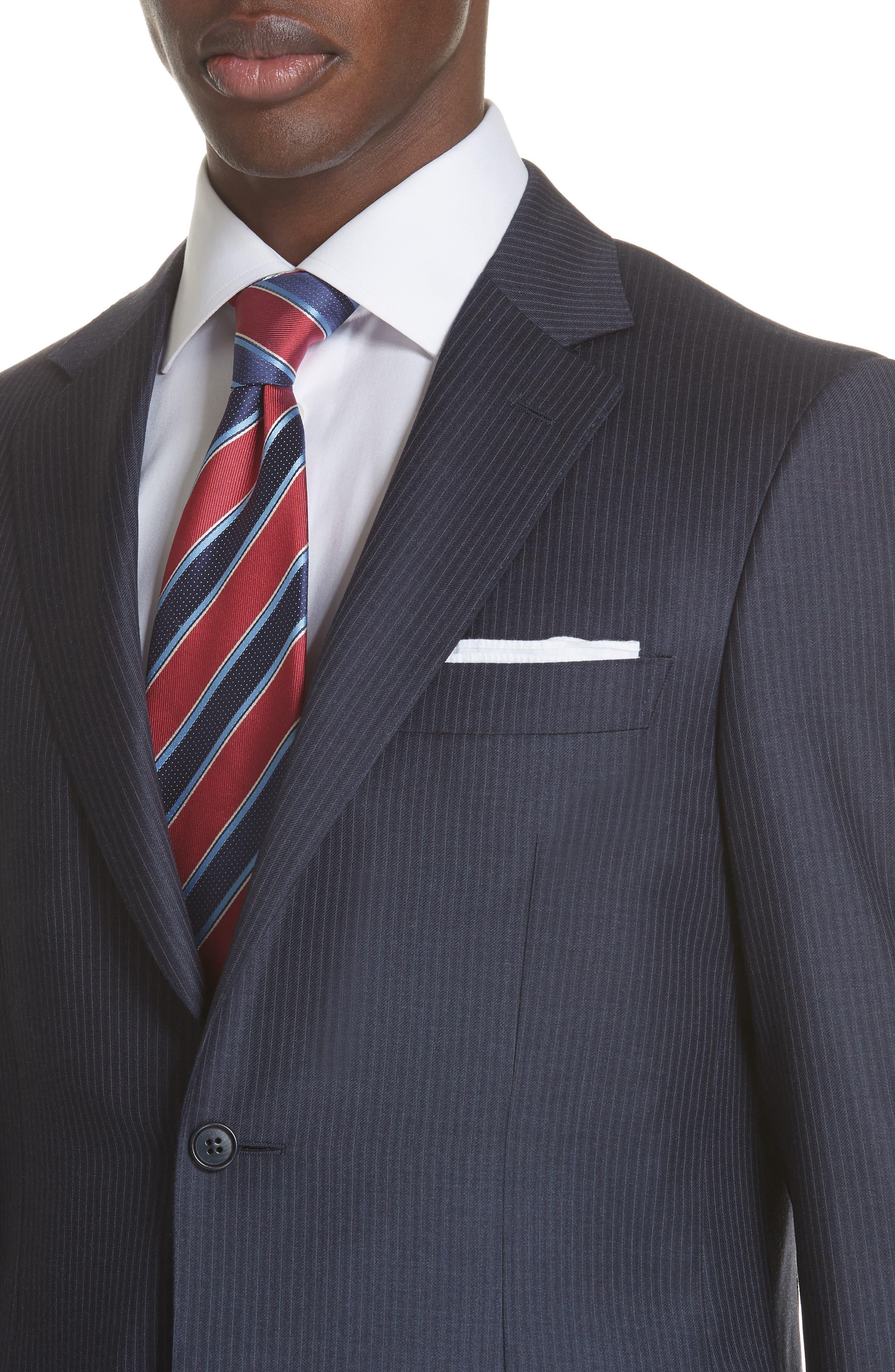 Siena Classic Fit Stripe Wool Suit,                             Alternate thumbnail 4, color,                             Blue