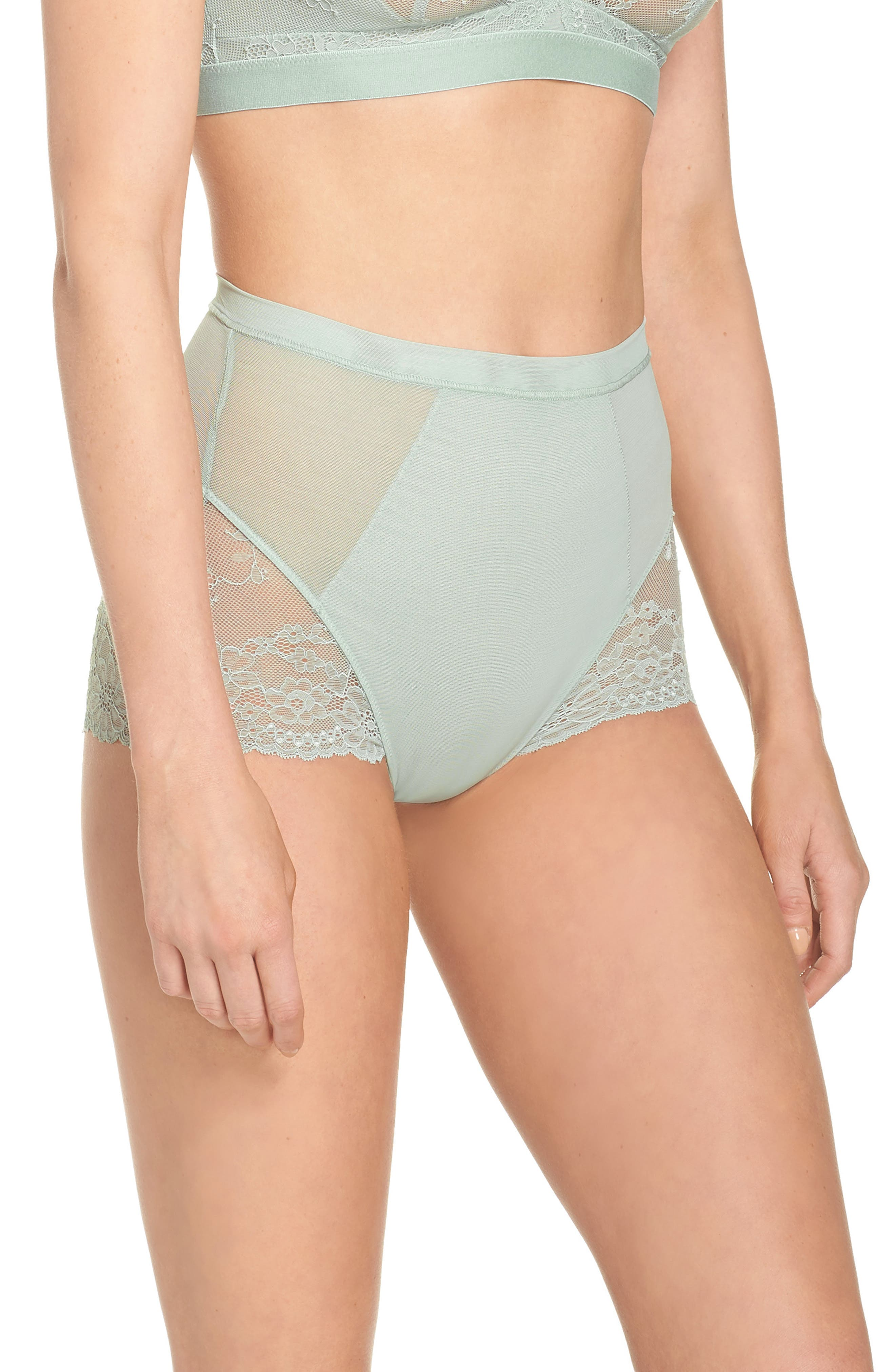 Spotlight On Lace Briefs,                             Alternate thumbnail 3, color,                             Seafoam Green