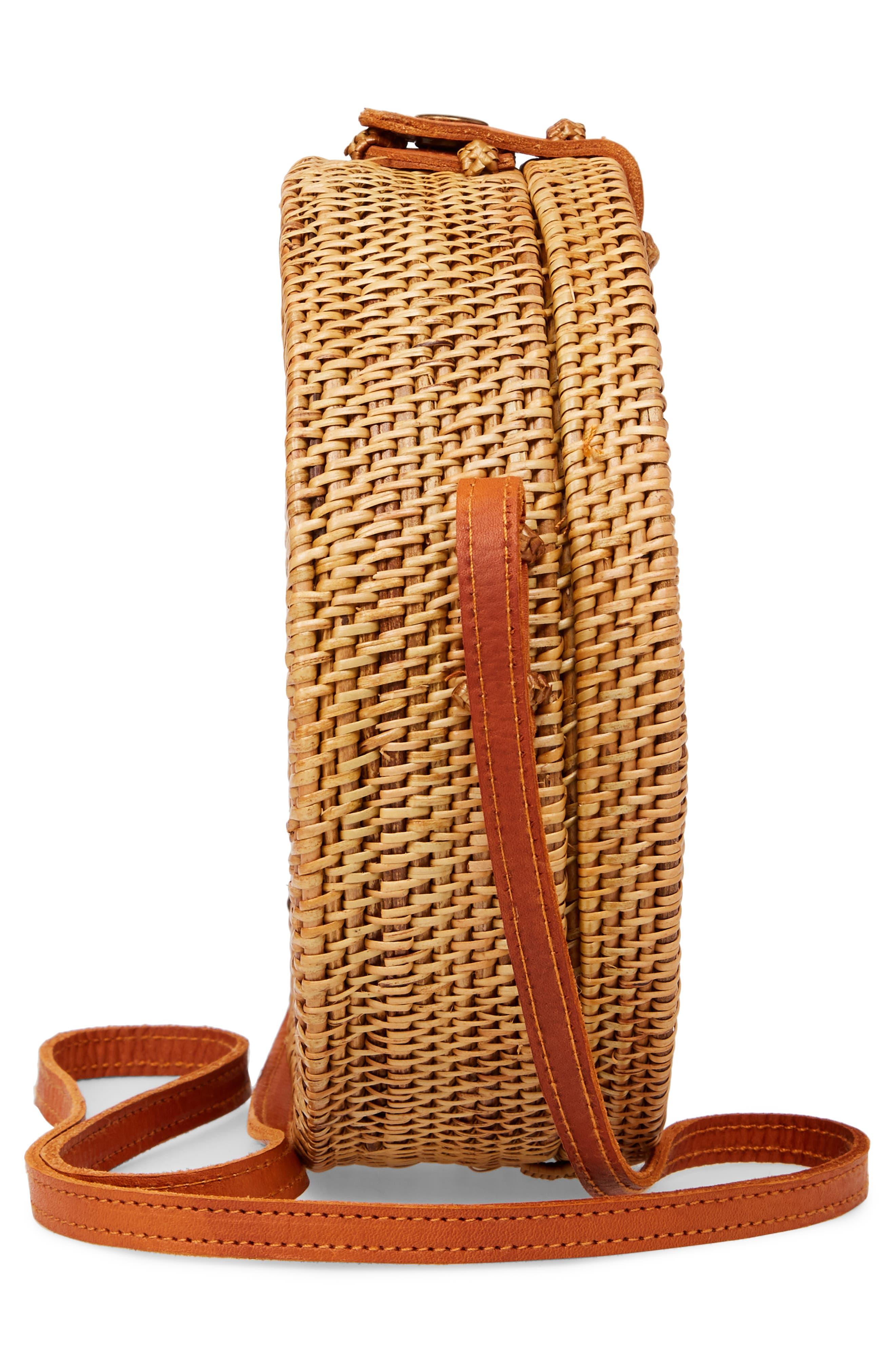 Woven Rattan Circle Basket Crossbody,                             Alternate thumbnail 4, color,                             Tan