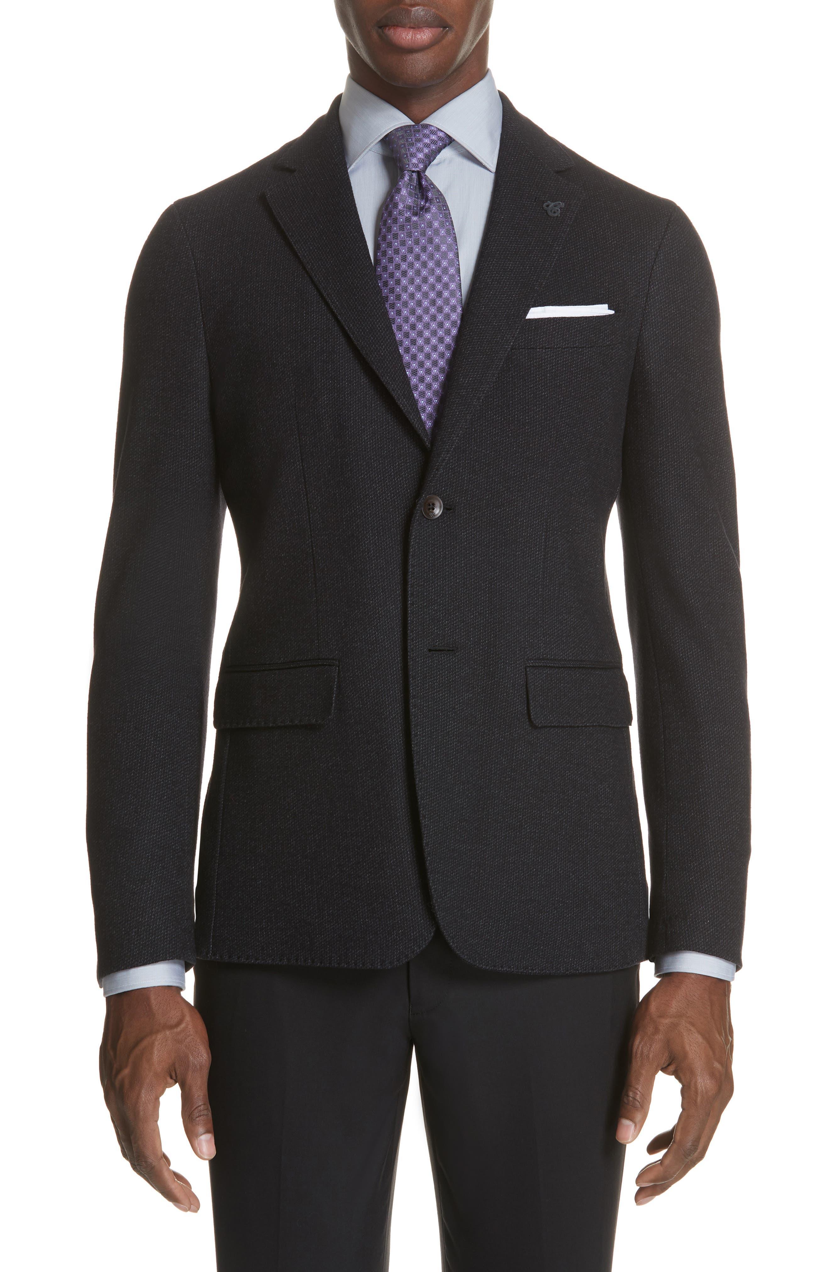 Slim Fit Wool & Cotton Blazer,                         Main,                         color, Grey