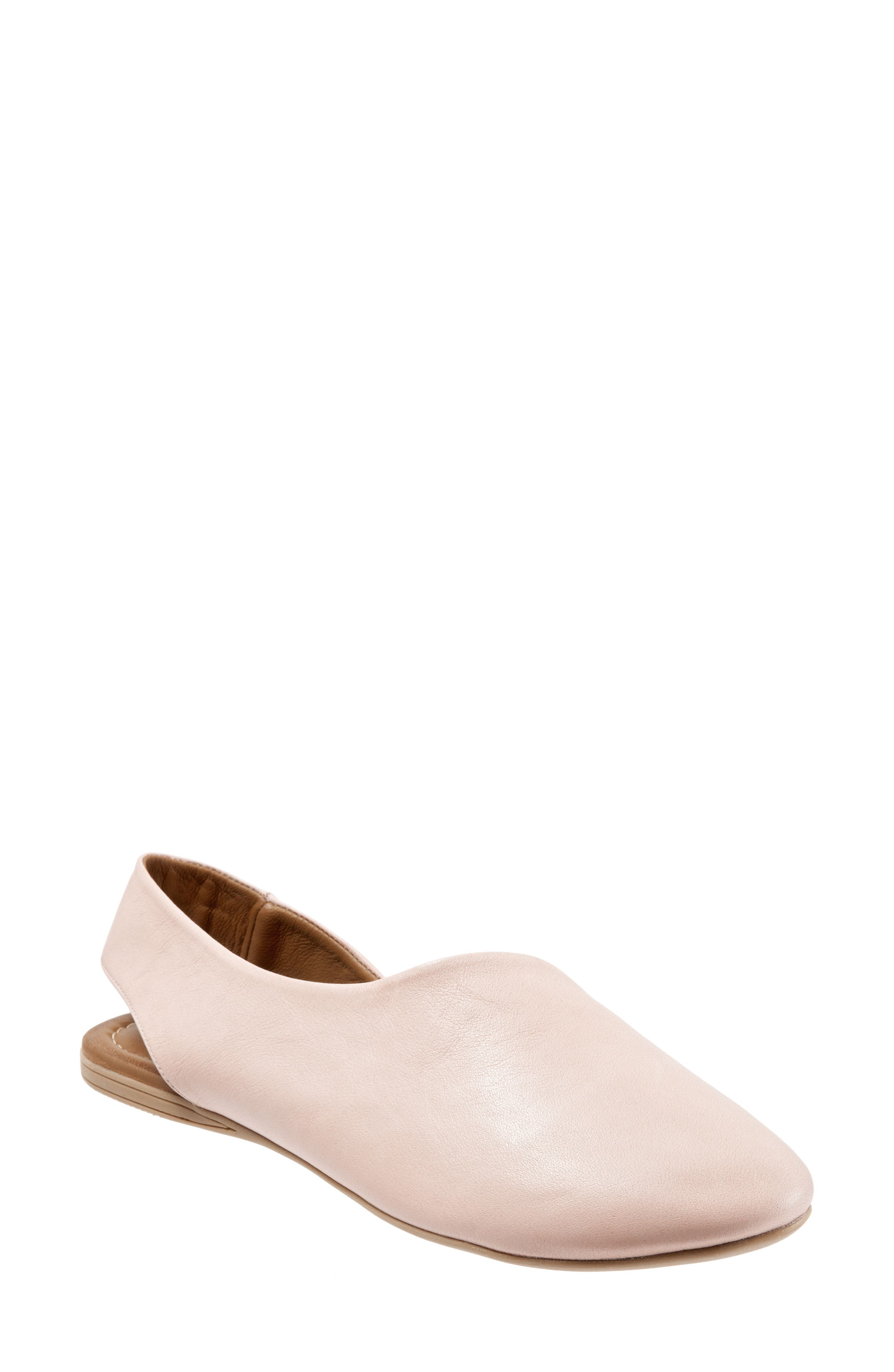 Keep Slingback Flat,                             Main thumbnail 1, color,                             Pale Pink Leather