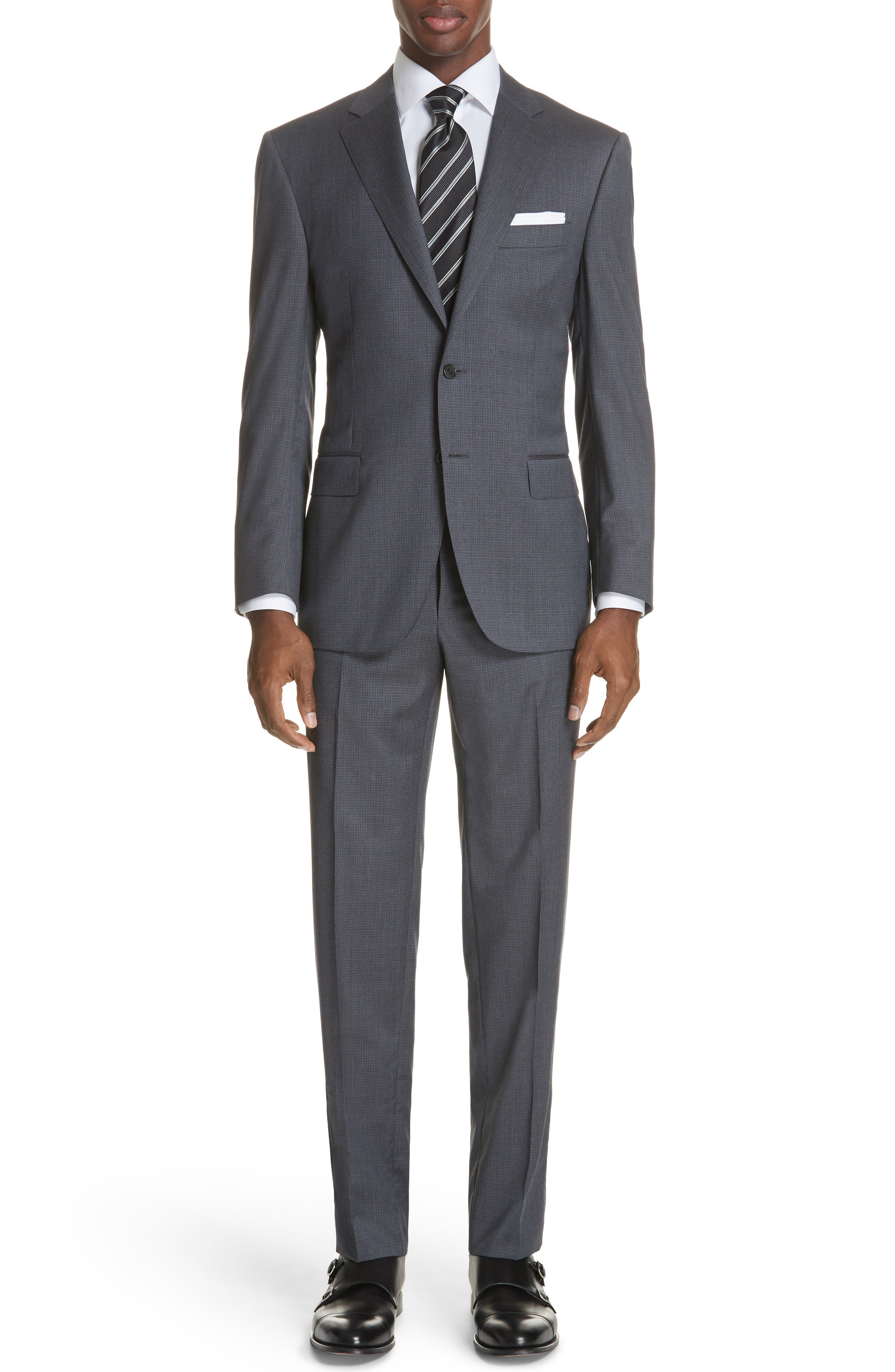 Classic Fit Check Wool Suit,                         Main,                         color, Grey