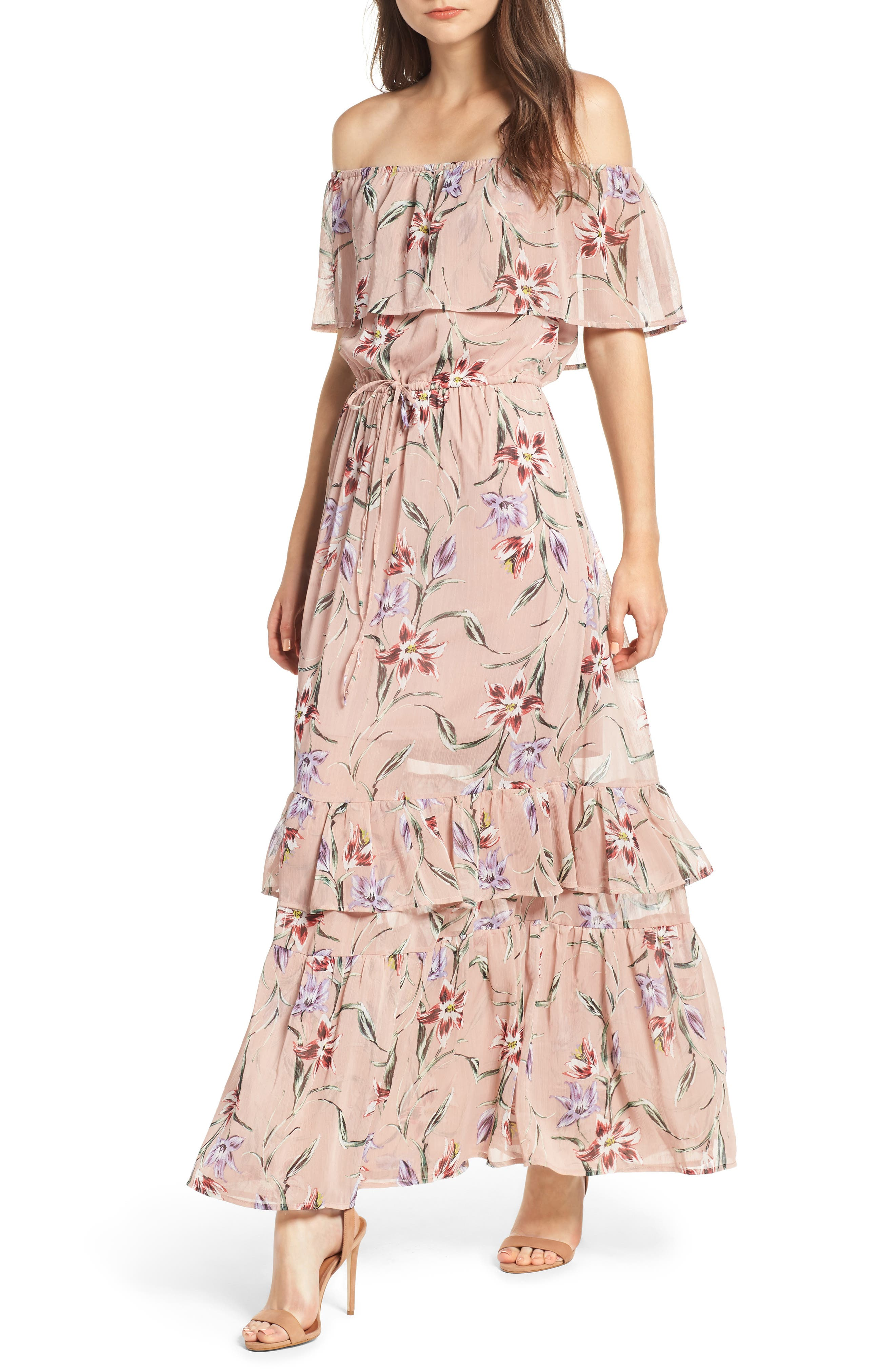 Off the Shoulder Maxi Dress,                             Main thumbnail 1, color,                             Nude Floral