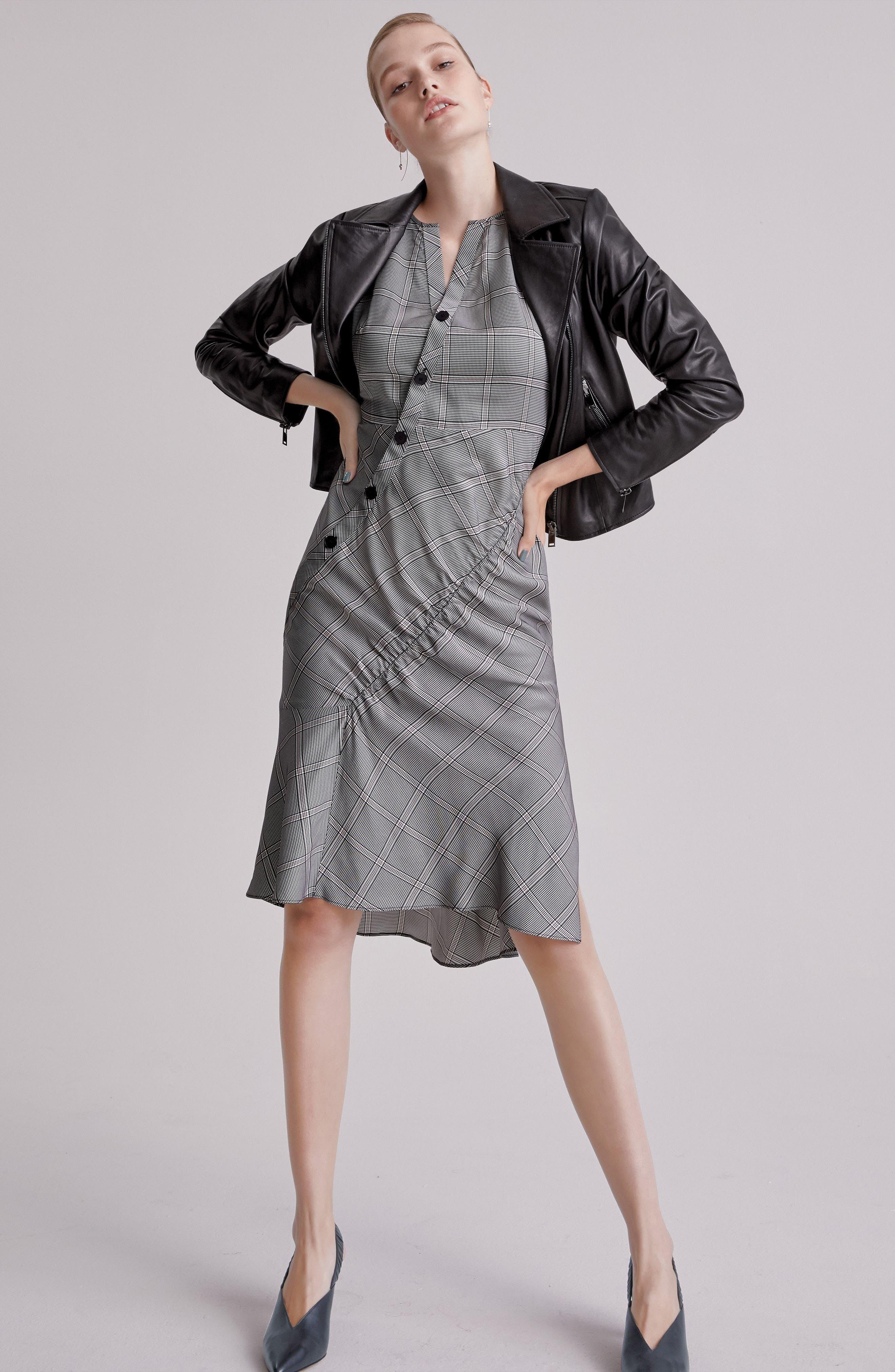 Seam Detail Sleeveless Check Dress,                             Alternate thumbnail 7, color,