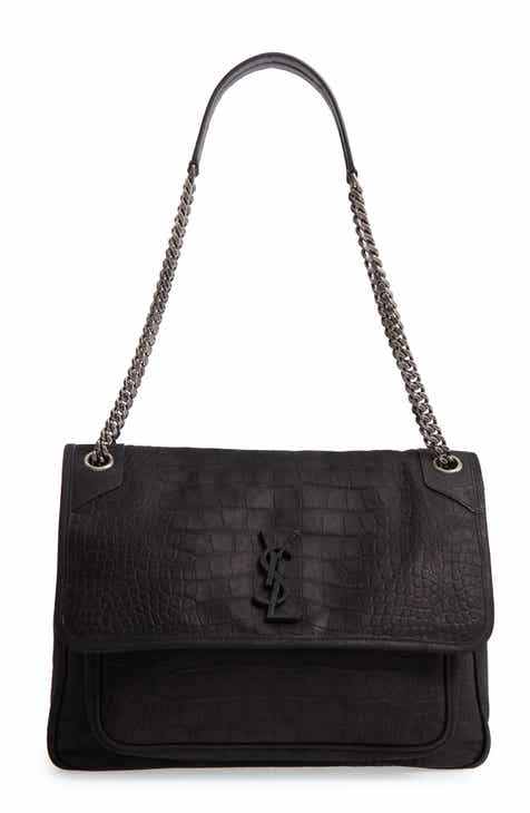 1b1b711351 Saint Laurent Large Niki Croc Embossed Nubuck Shoulder Bag