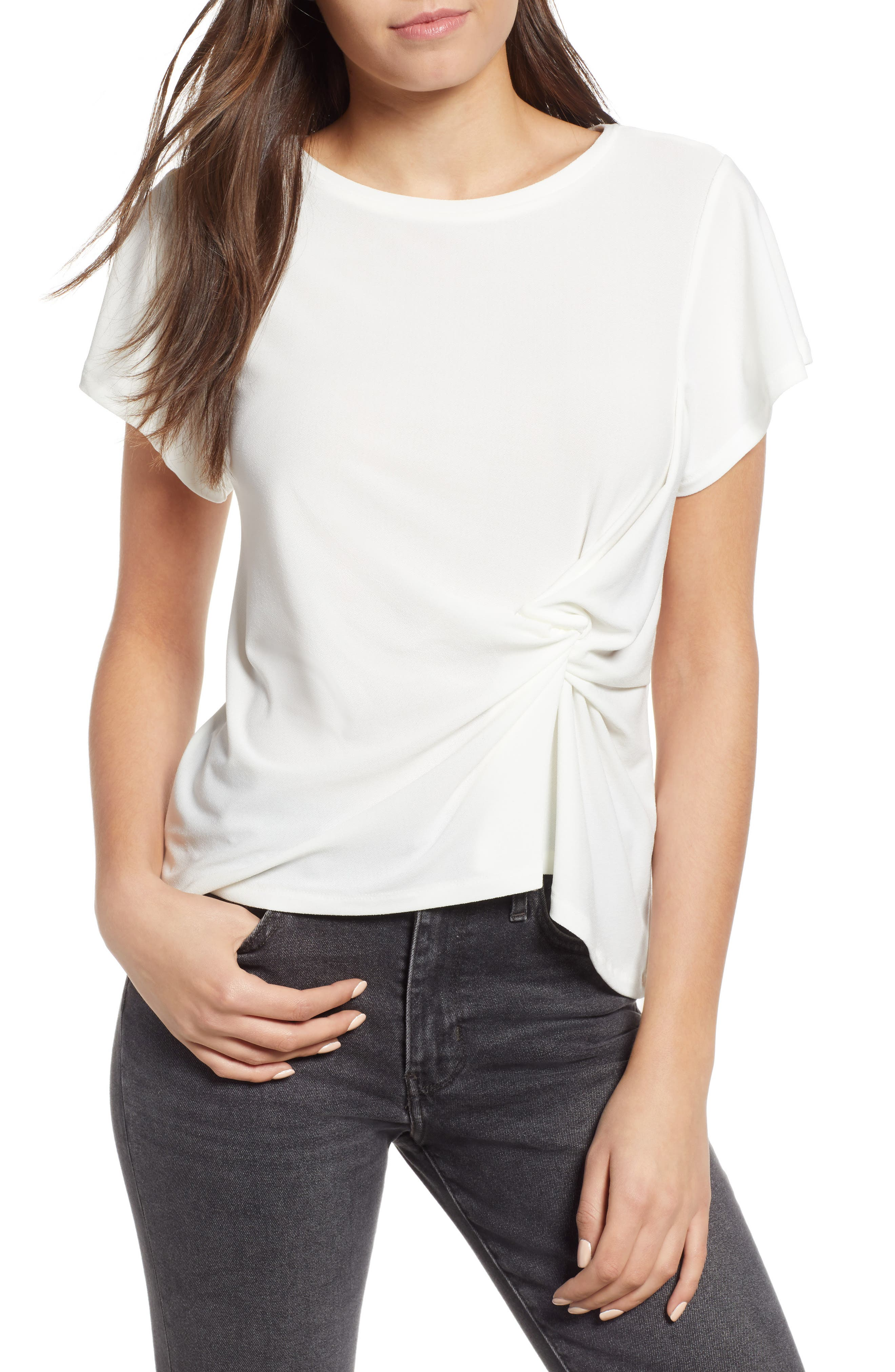 Side Knot Tee,                             Main thumbnail 1, color,                             Ivory