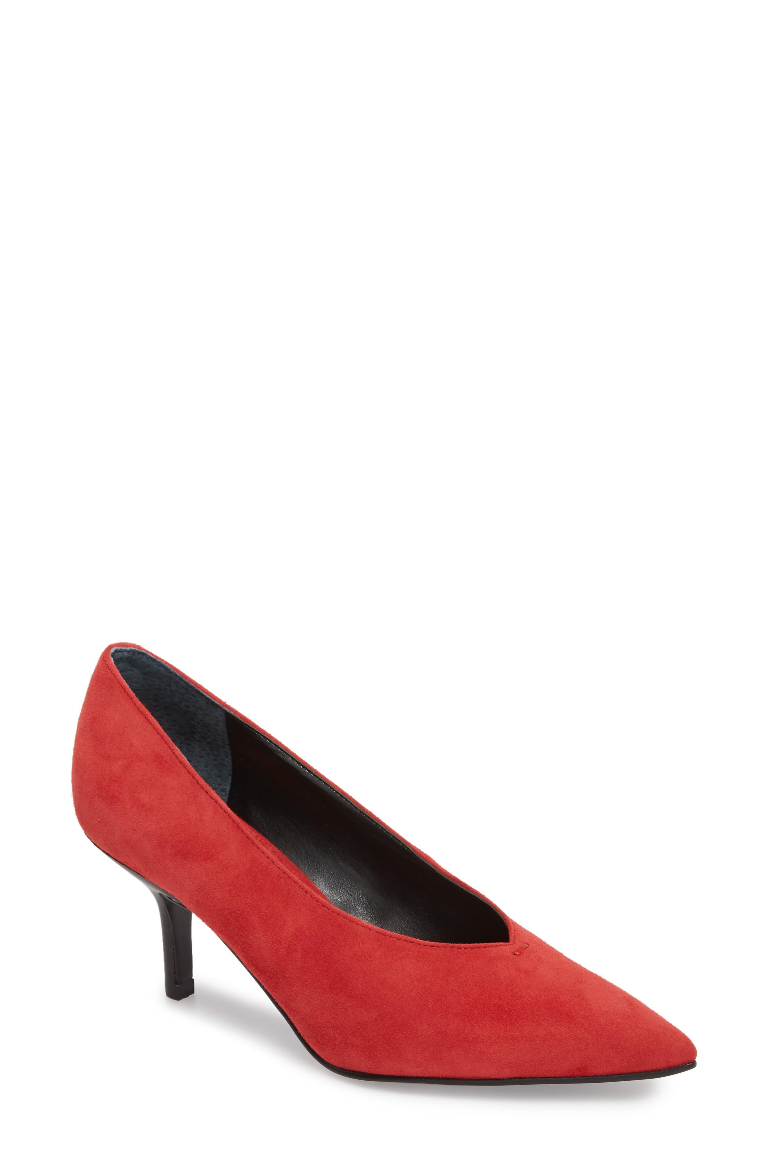 Dallon Kitten Heel Pump,                         Main,                         color, Red Suede
