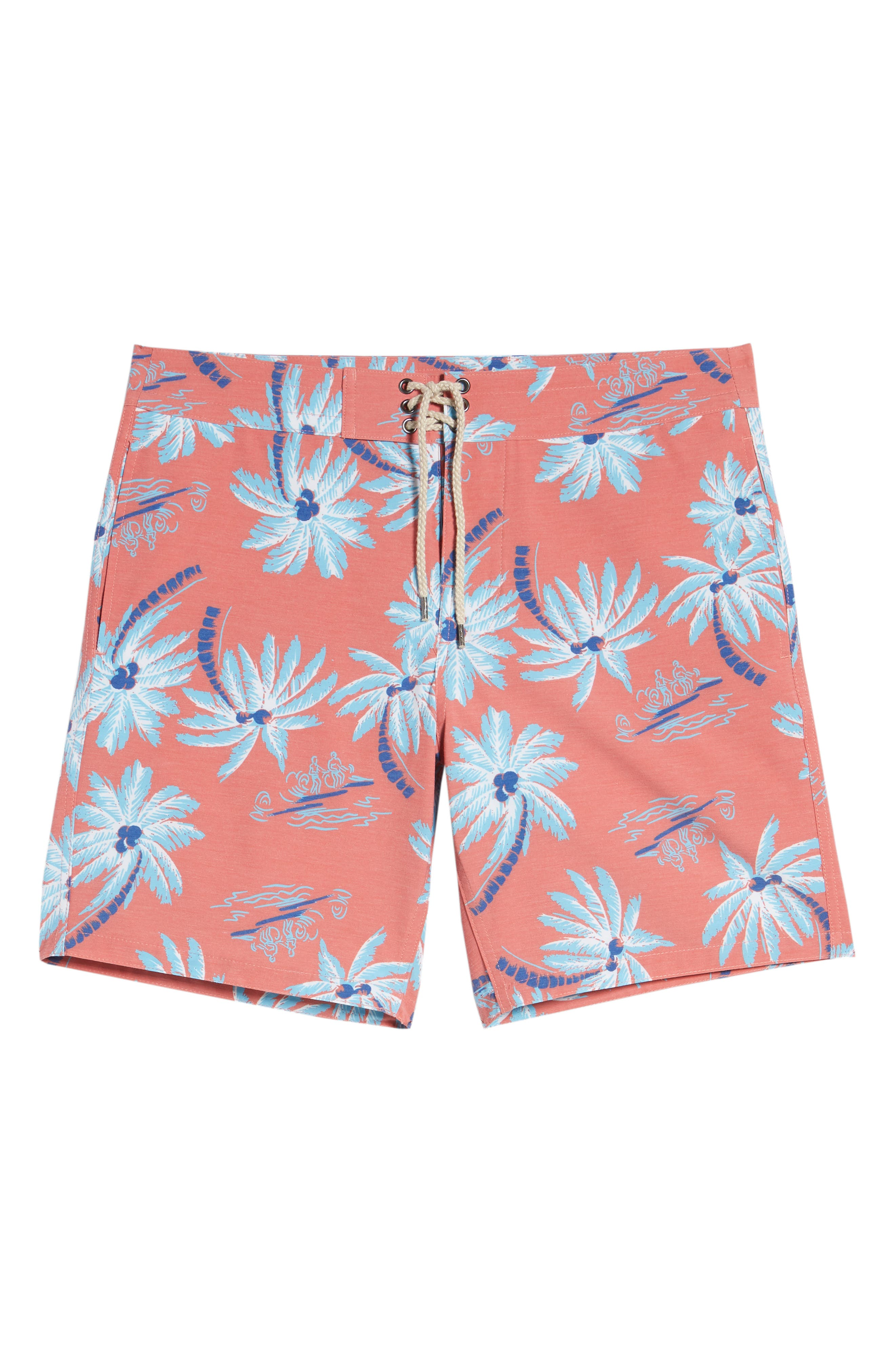 Classic Board Shorts,                             Alternate thumbnail 6, color,                             Red Palm Hawaiian