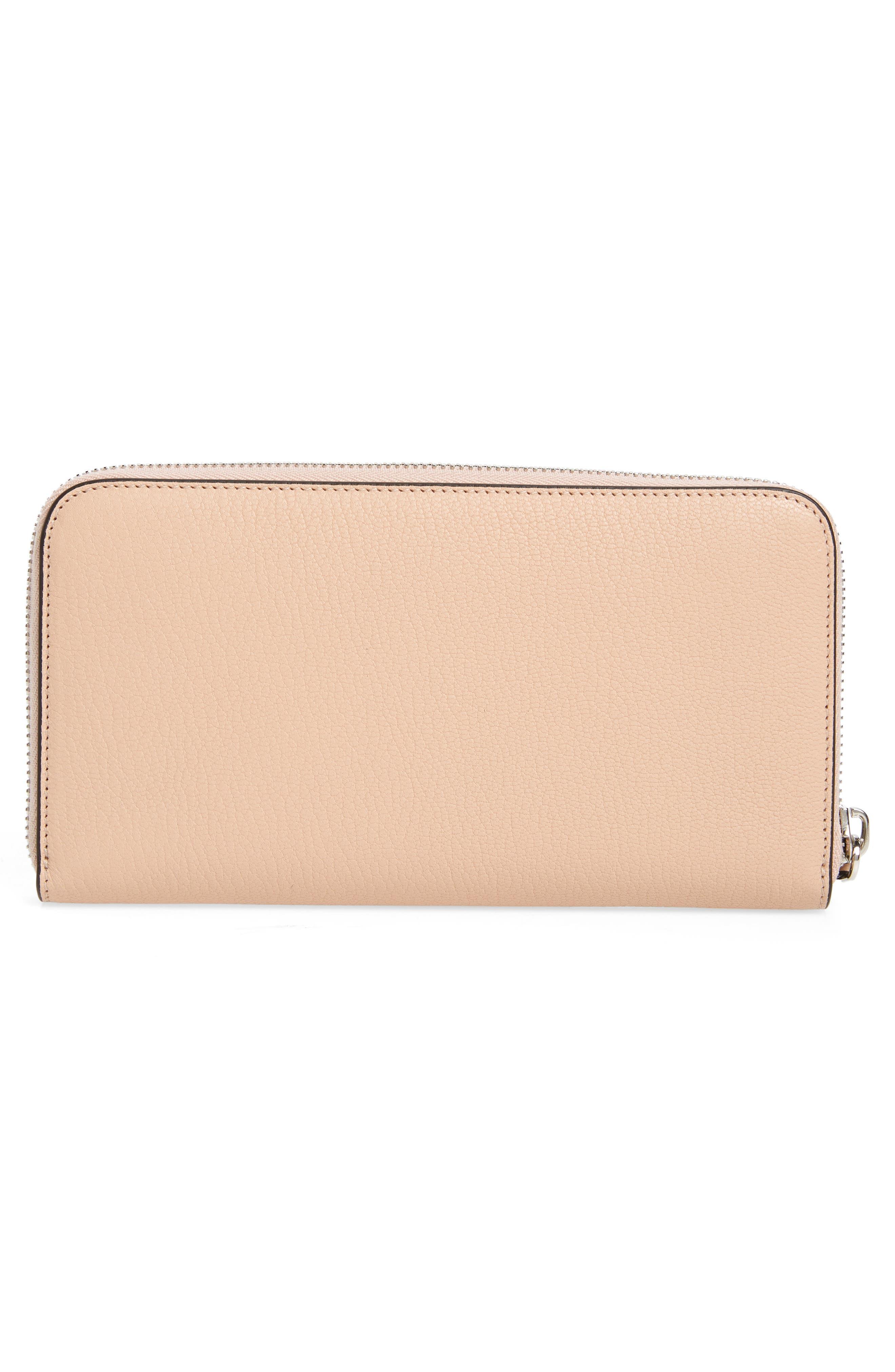 Padora Leather Zip Around Wallet,                             Alternate thumbnail 4, color,                             Powder