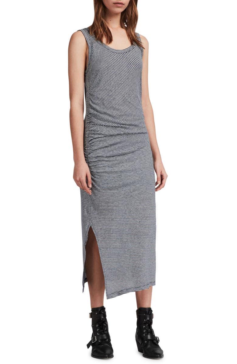 Tina Stripe Linen  Cotton Midi Dress