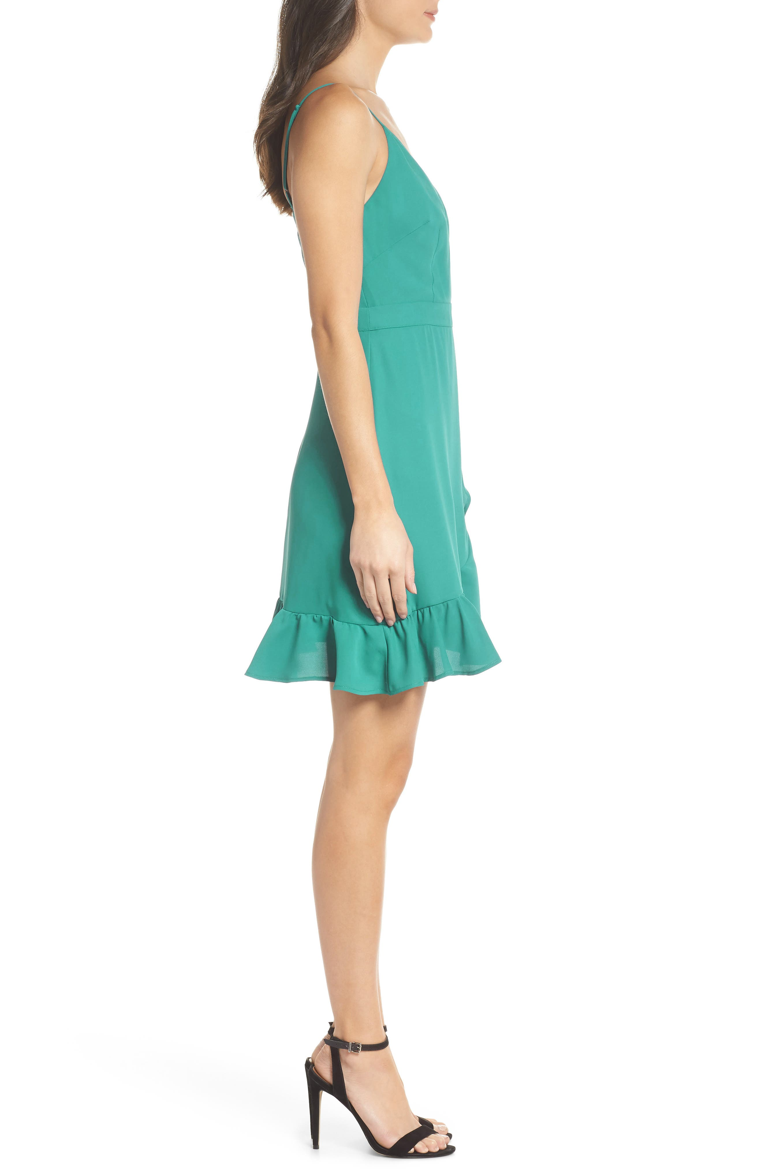 Crepe Skater Dress,                             Alternate thumbnail 3, color,                             Aquamarine