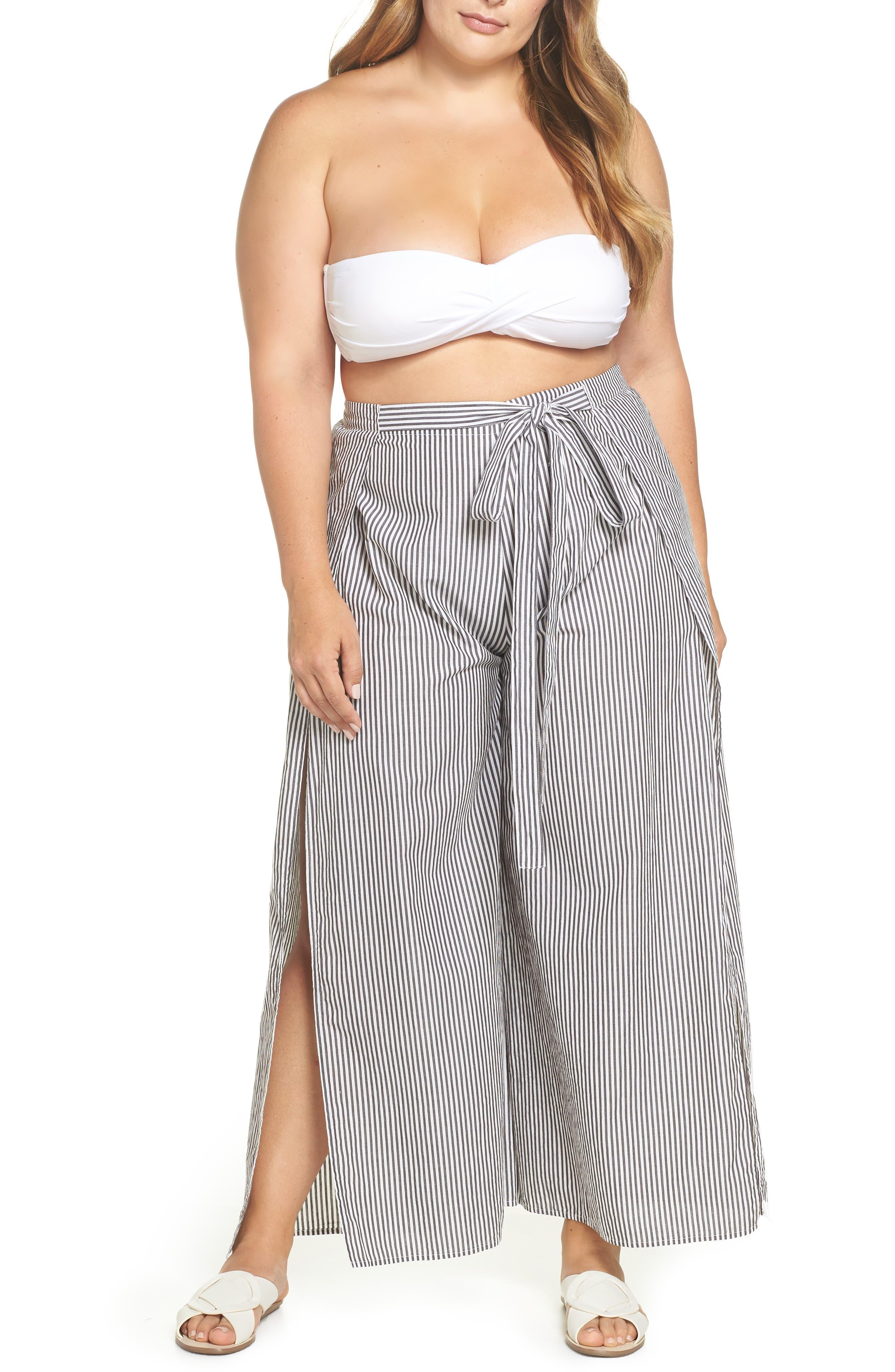 Cover-Up Flyaway Pants,                             Main thumbnail 1, color,                             Black/ White