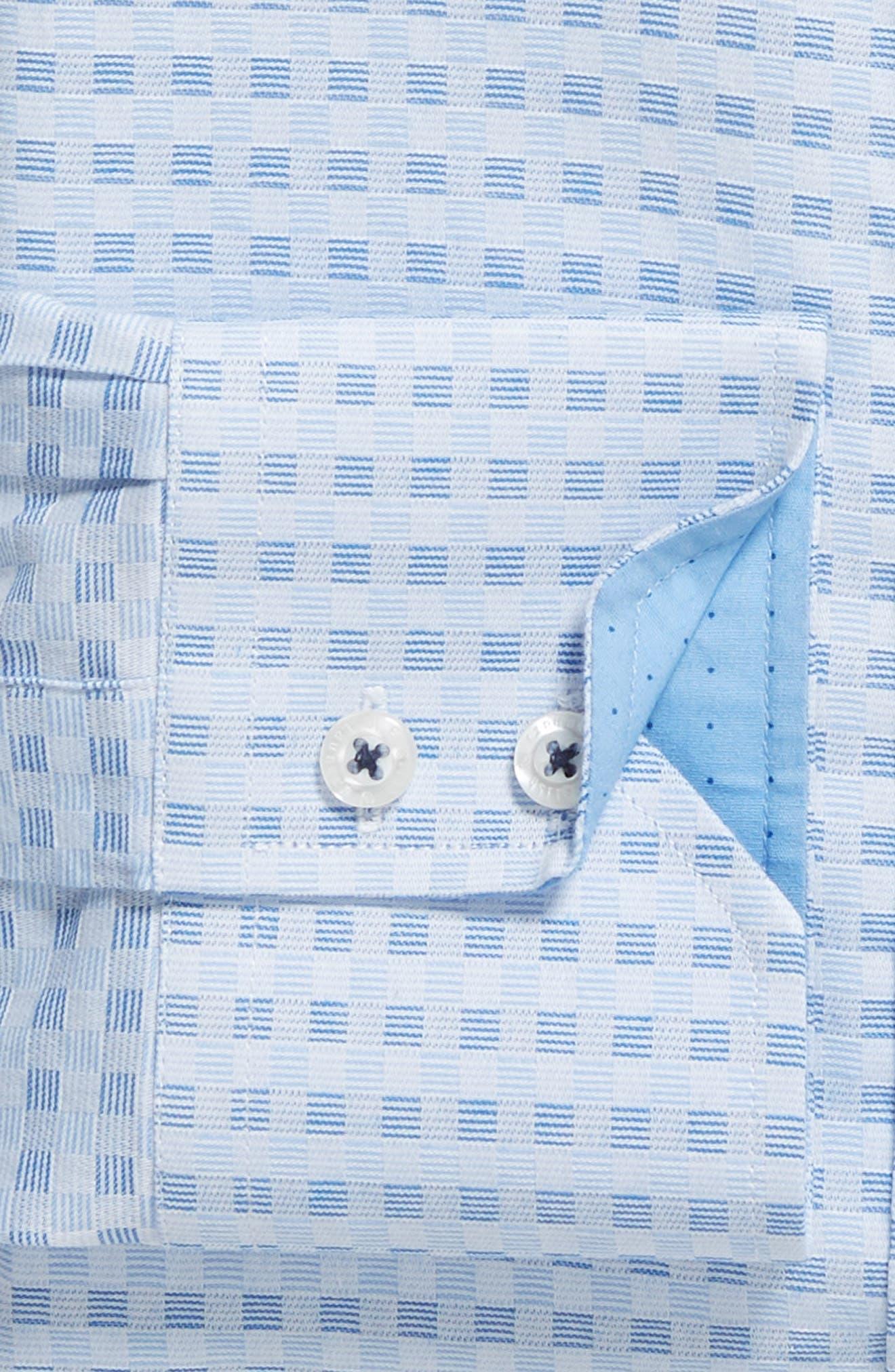 Check Regular Fit Dress Shirt,                             Alternate thumbnail 5, color,                             Blue