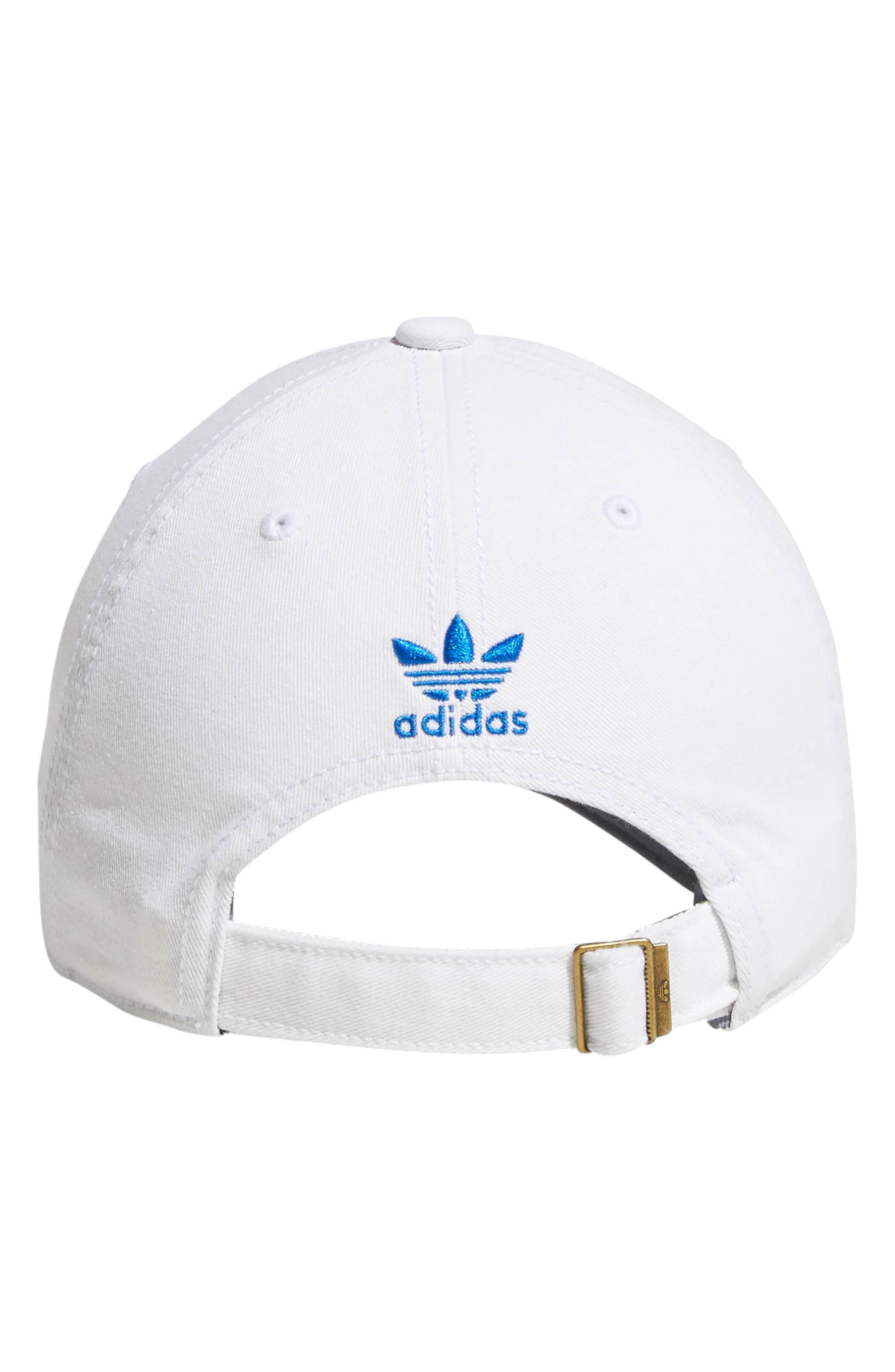 Relaxed Strap-Back Cap,                             Alternate thumbnail 3, color,                             White/ Bluebird