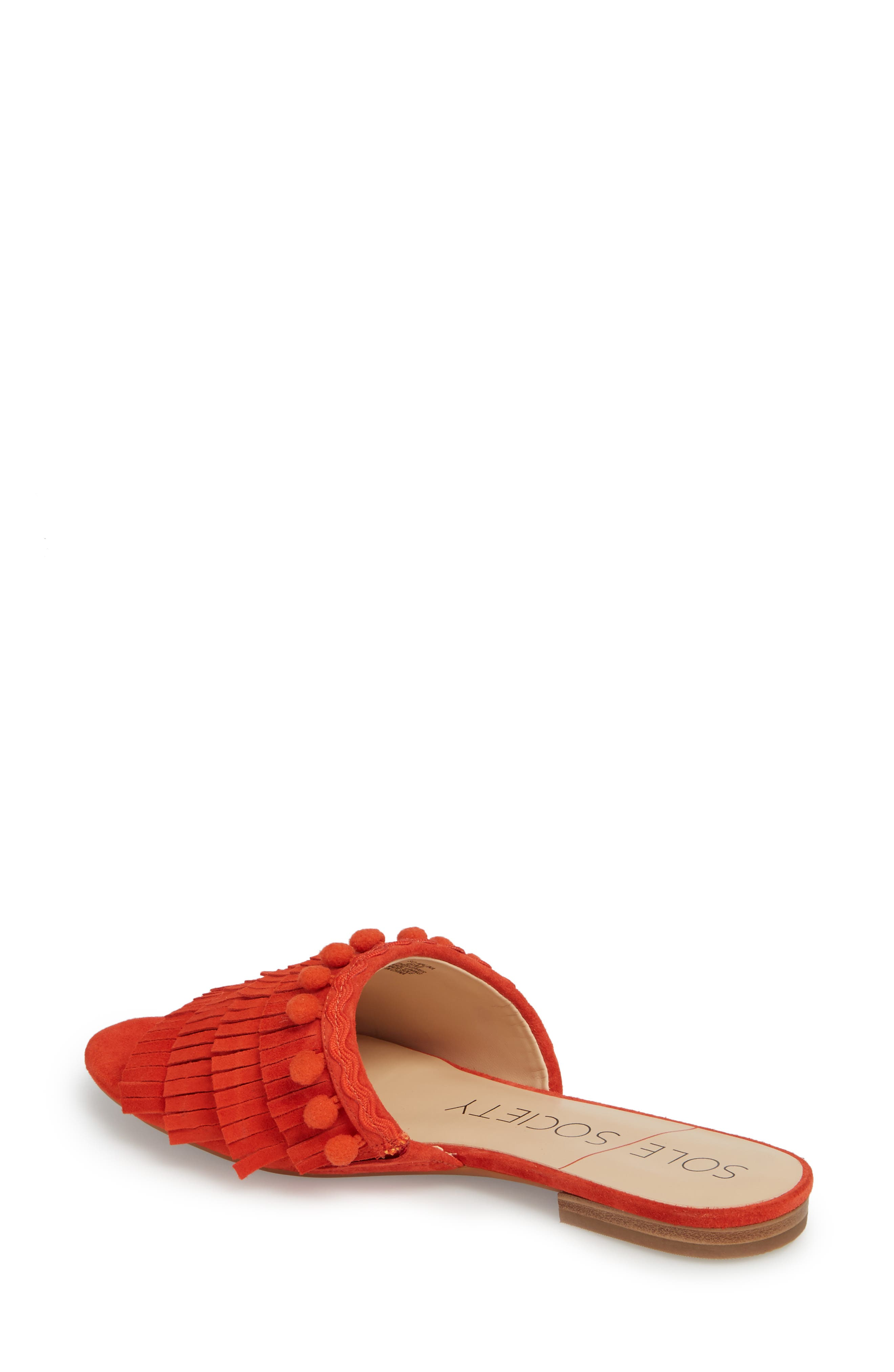 Malina Mule,                             Alternate thumbnail 2, color,                             Bright Coral Suede