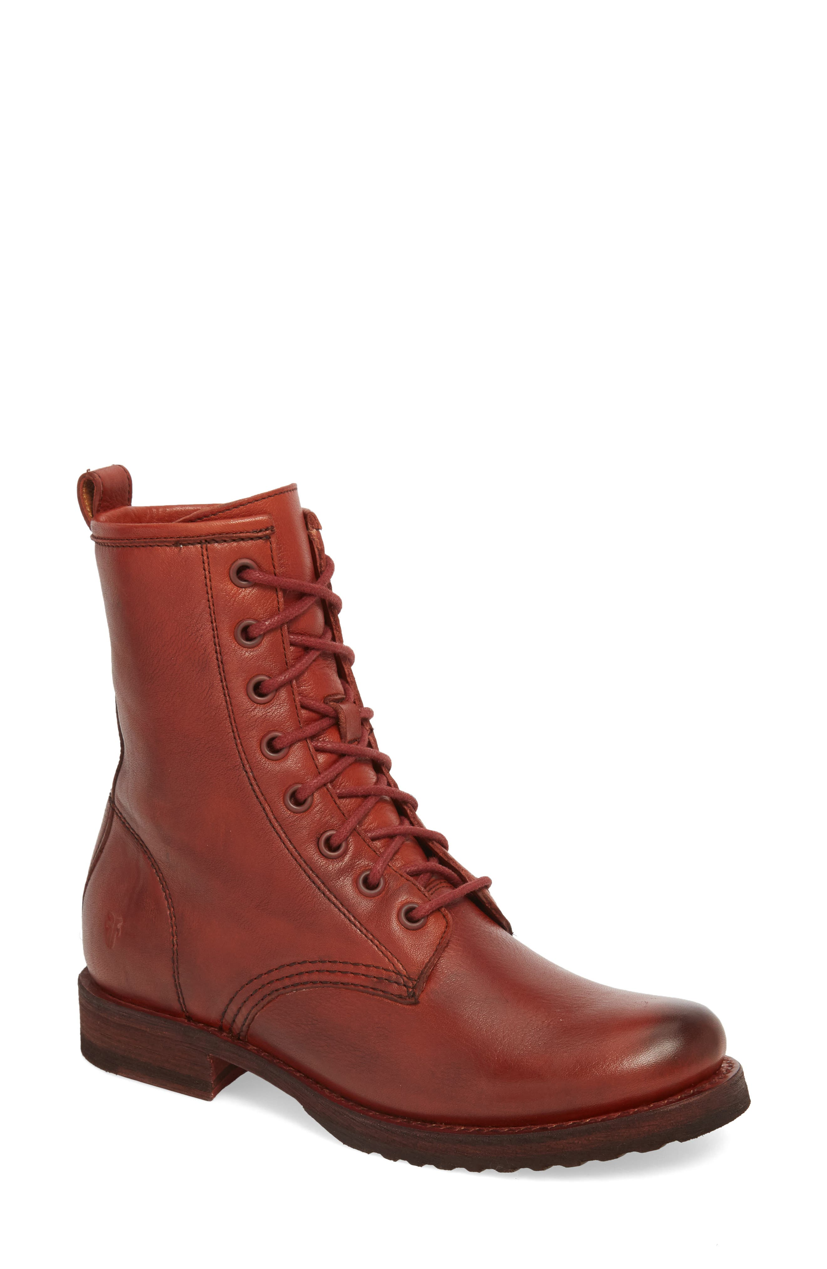 'Veronica Combat' Boot,                             Main thumbnail 1, color,                             Red Clay Leather