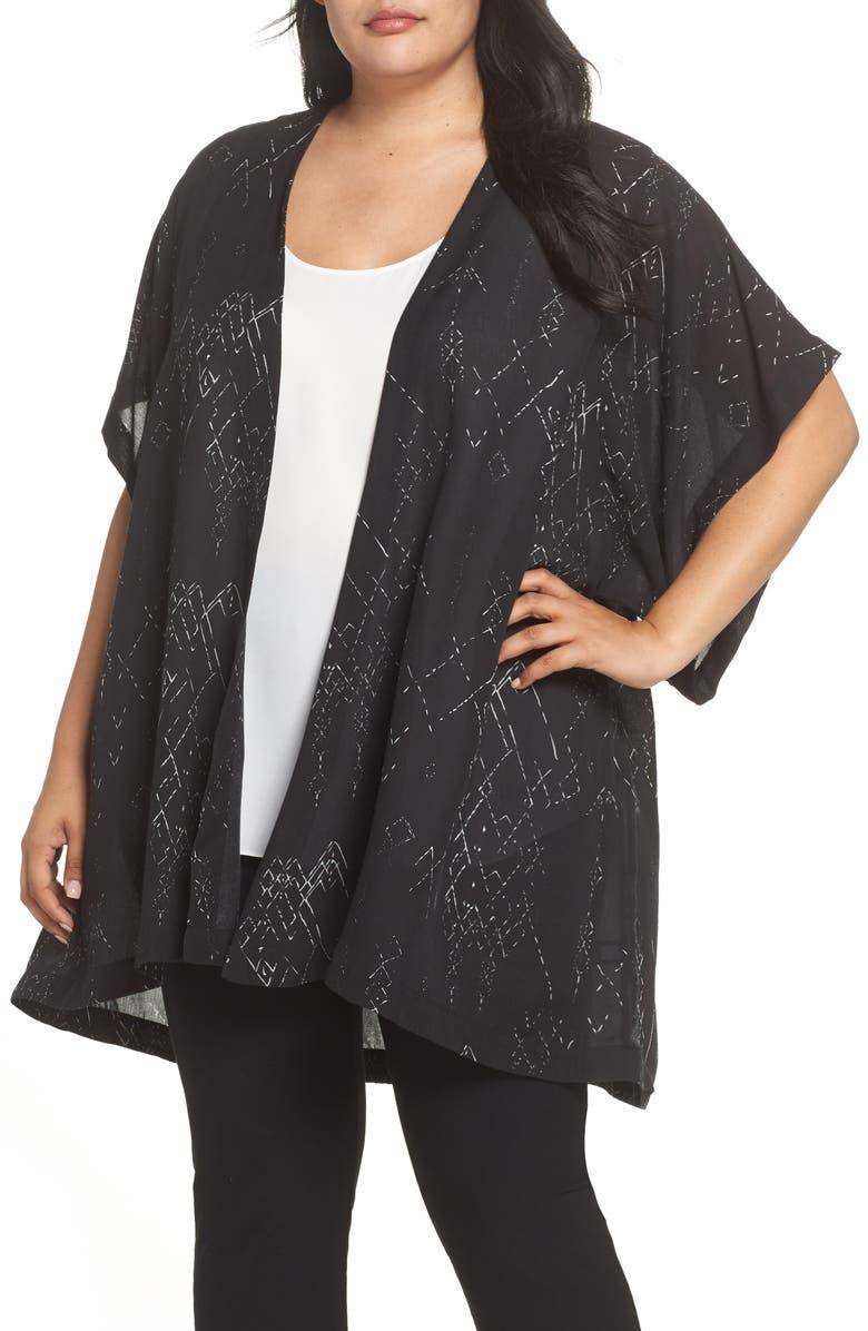 Print Silk Blend Kimono Jacket