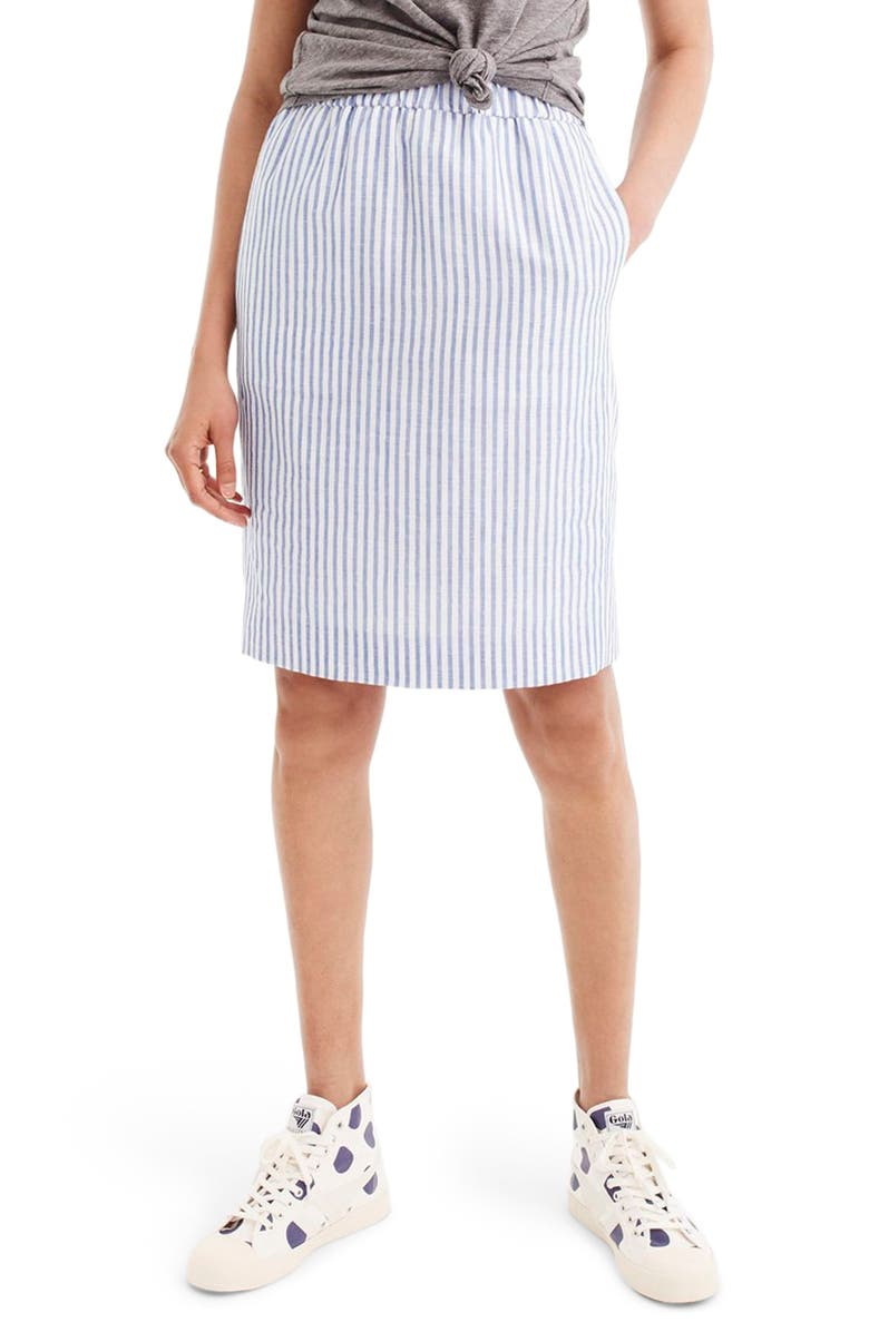 Pull-On Stripe Linen & Cotton Skirt