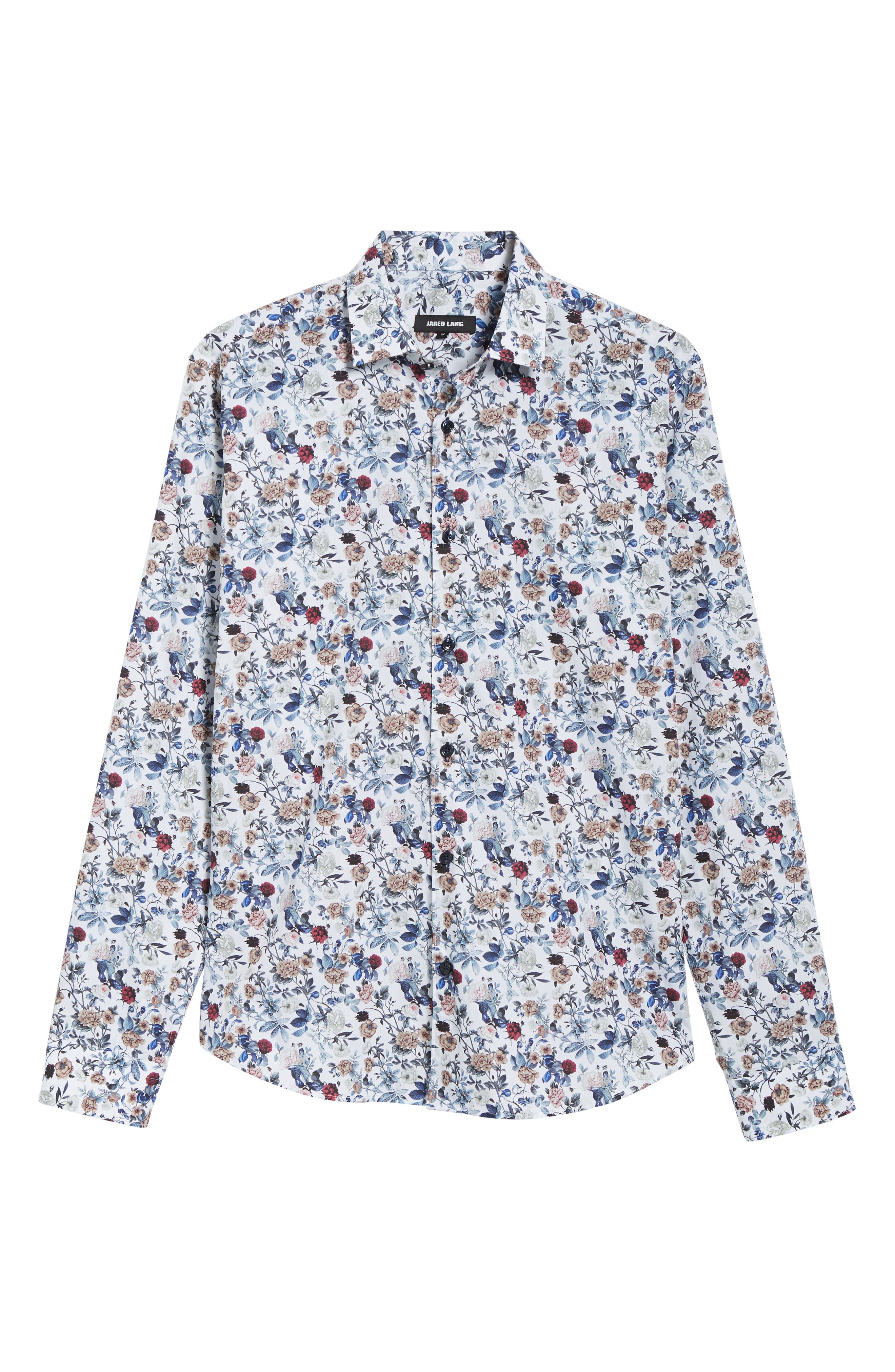 Floral Sport Shirt,                             Alternate thumbnail 5, color,                             White Navy Print
