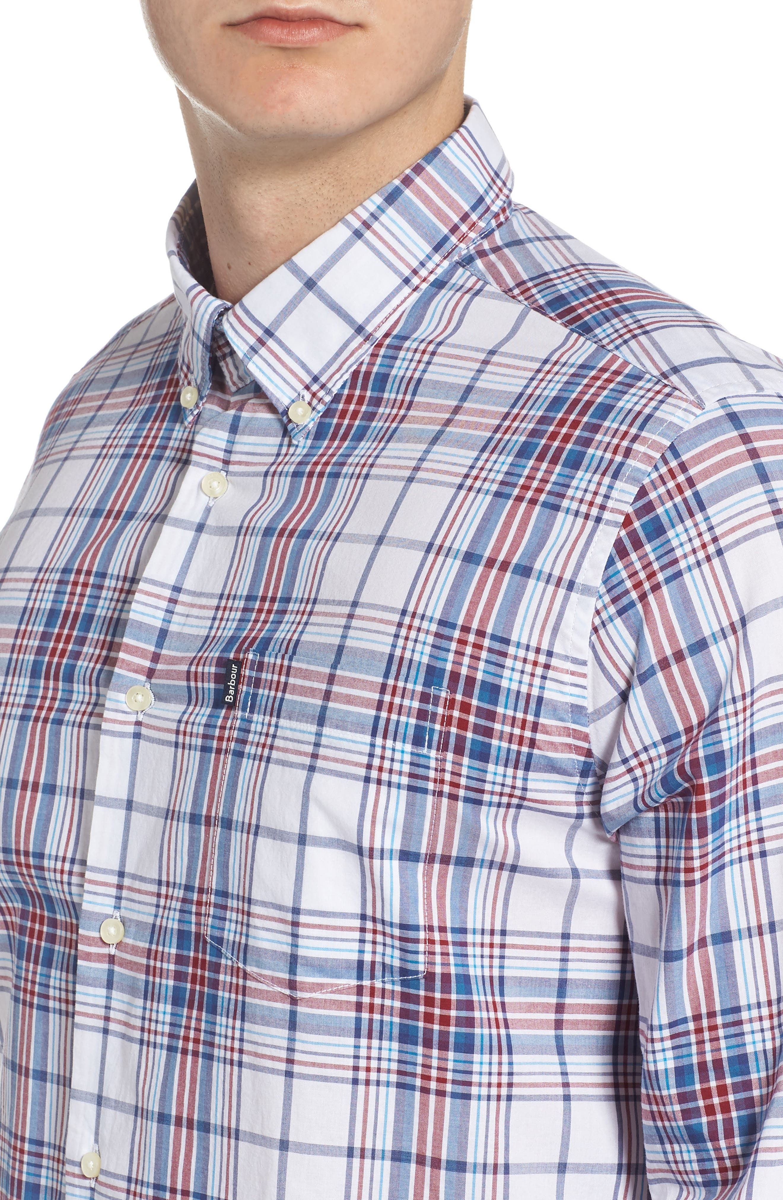 Christopher Tailored Fit Plaid Sport Shirt,                             Alternate thumbnail 2, color,                             Biking Red