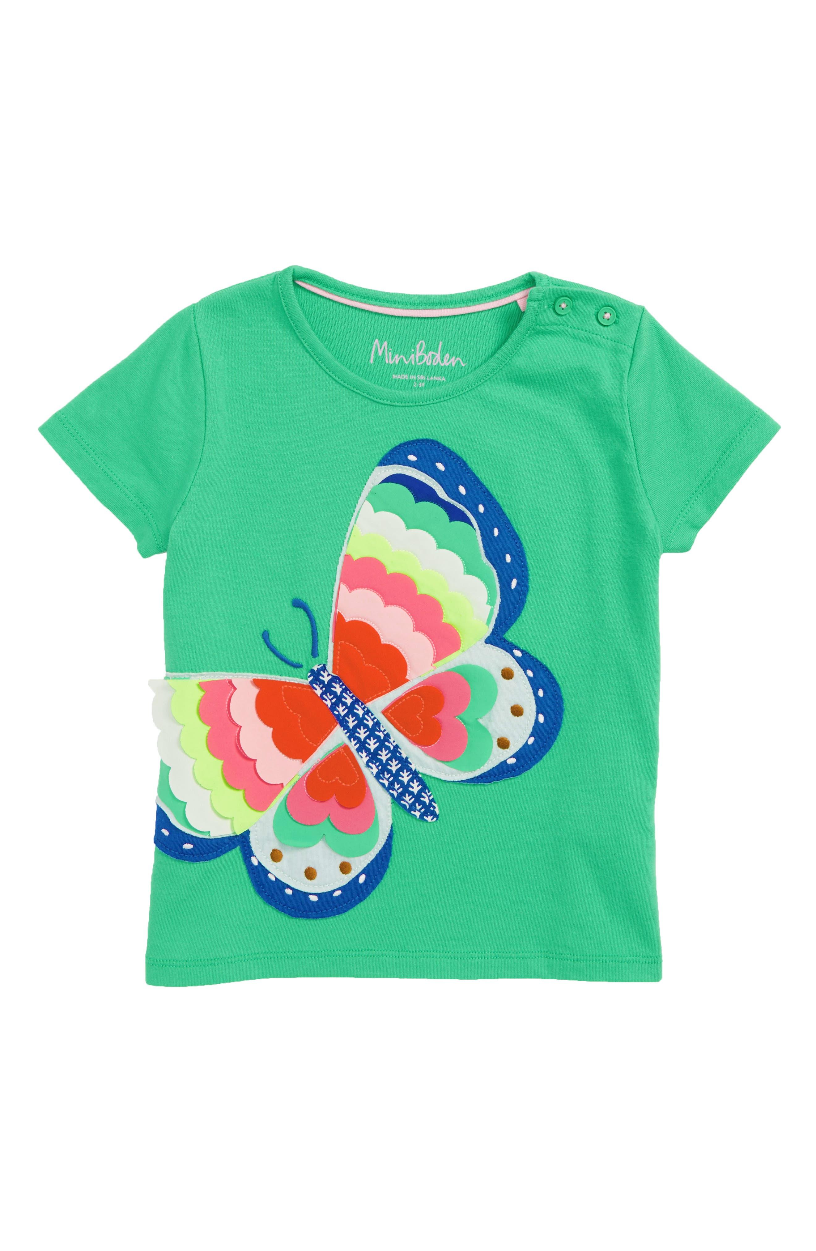 Summer Interest Butterfly Appliqué Tee,                             Main thumbnail 1, color,                             Peppermint Green Butterfly