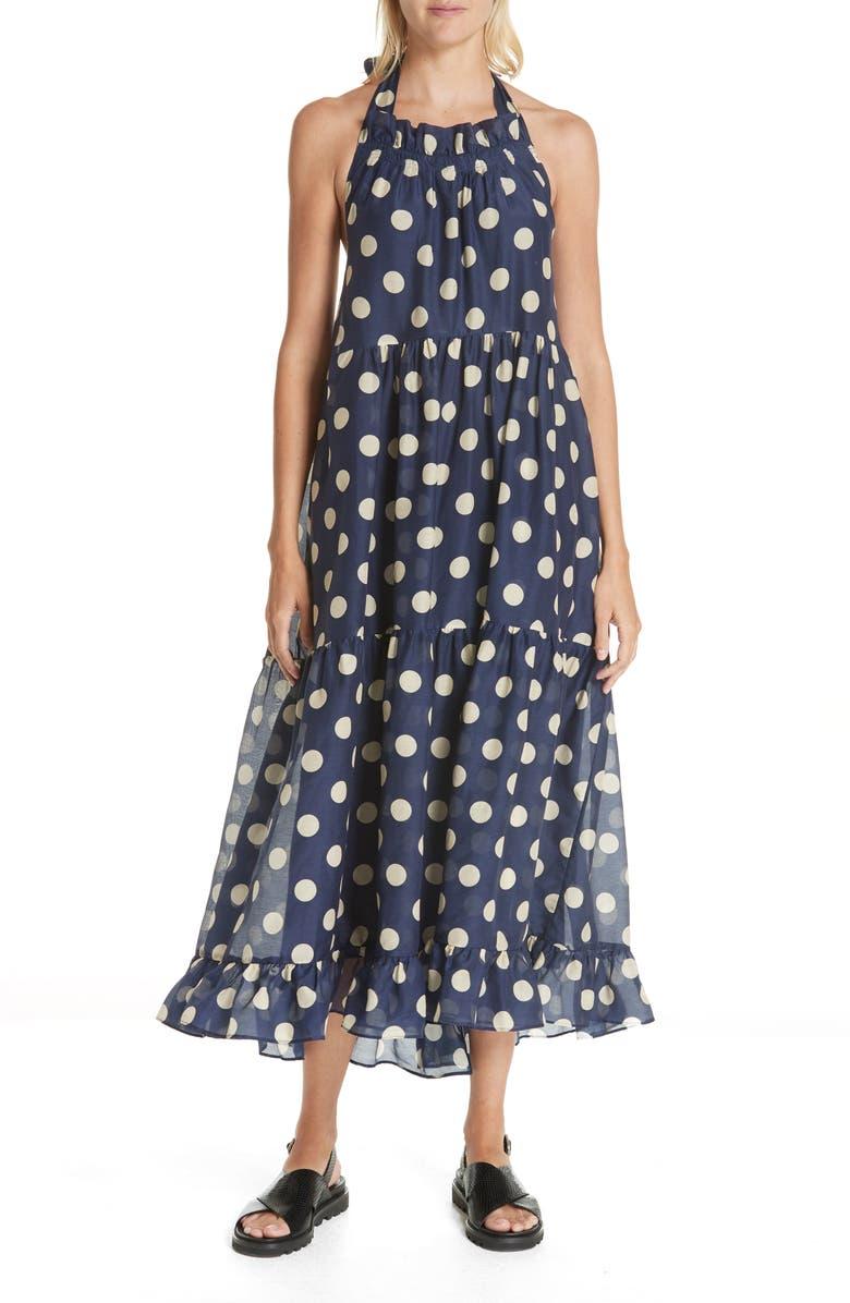 Minnie Spot Cotton  Silk Halter Dress