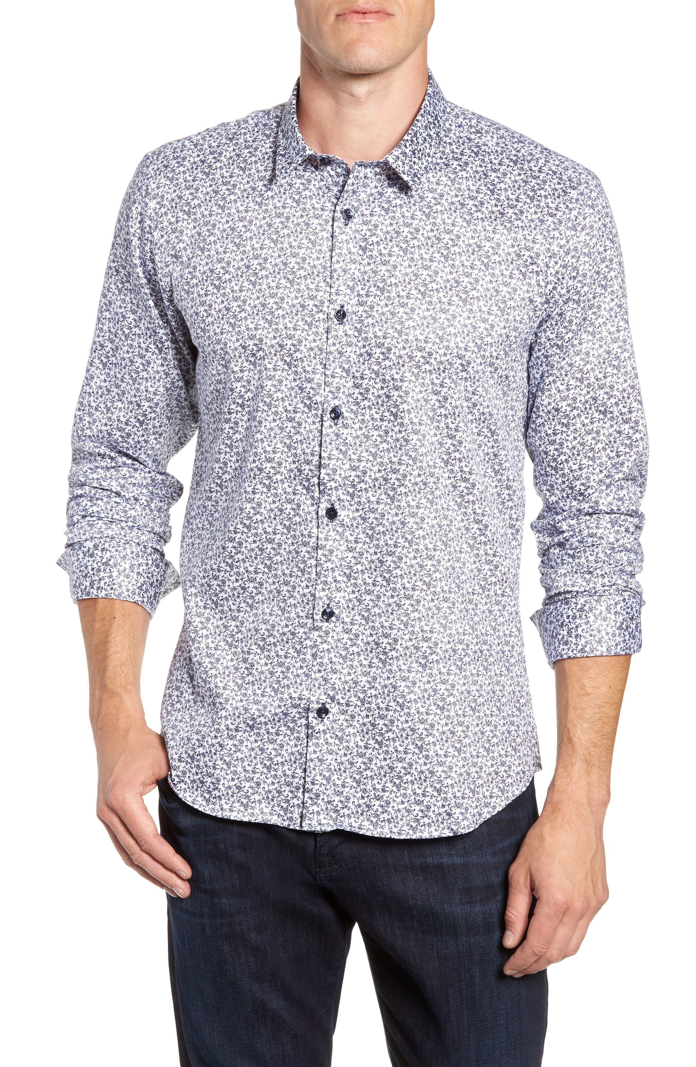 Floral Sport Shirt,                         Main,                         color, White Navy Print