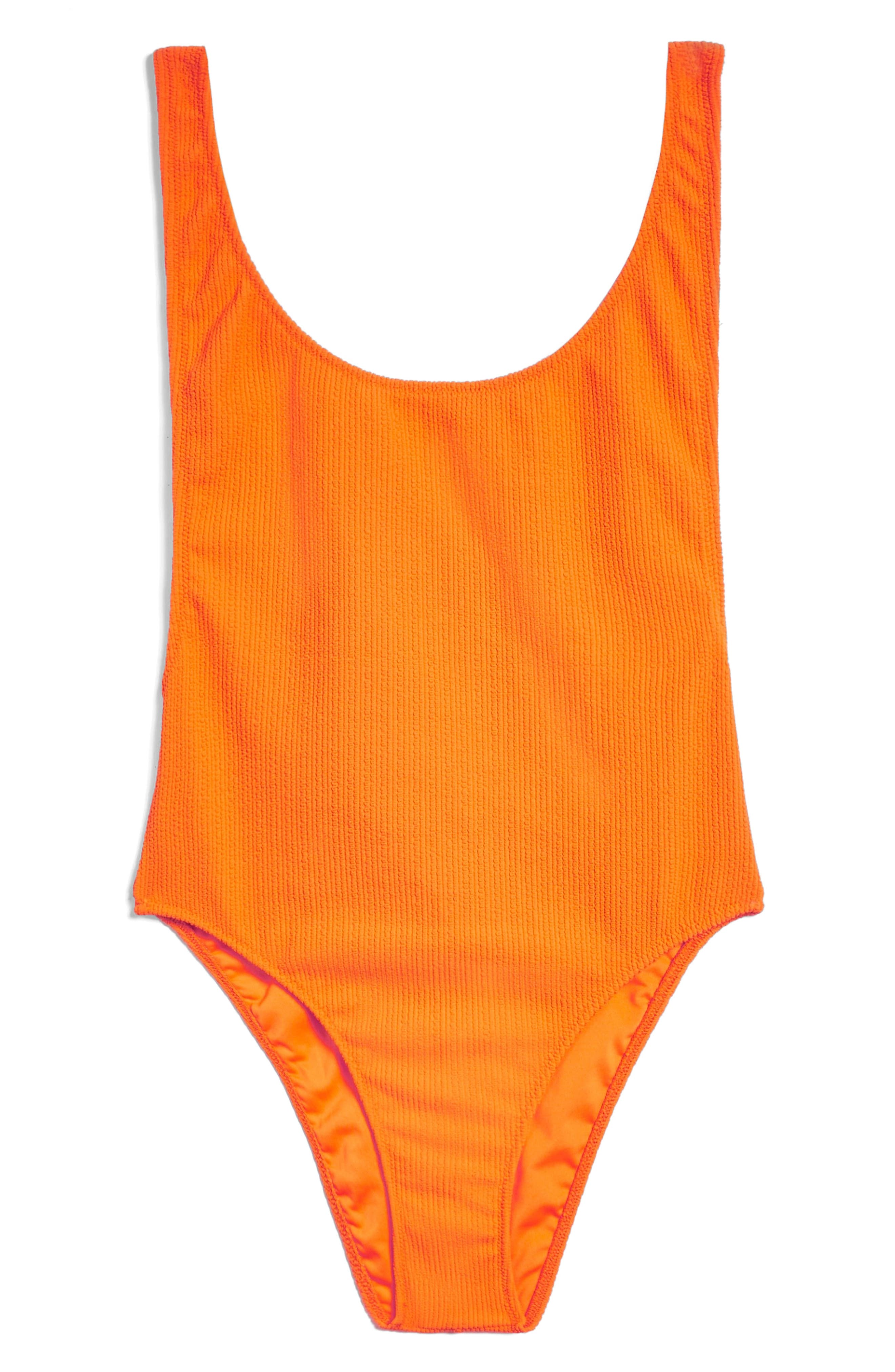 Scoop Neck Crinkle One-Piece Swimsuit,                             Alternate thumbnail 3, color,                             Orange