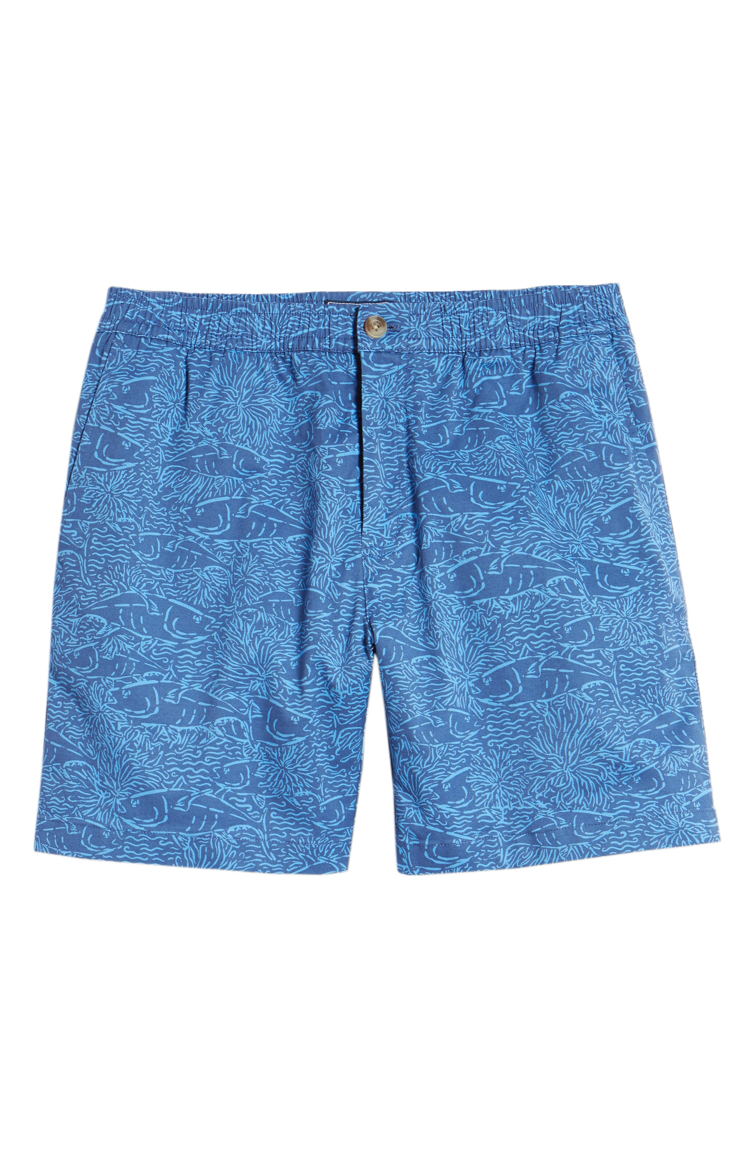 Jetty Print Stretch Cotton Shorts,                             Alternate thumbnail 6, color,                             Moonshine