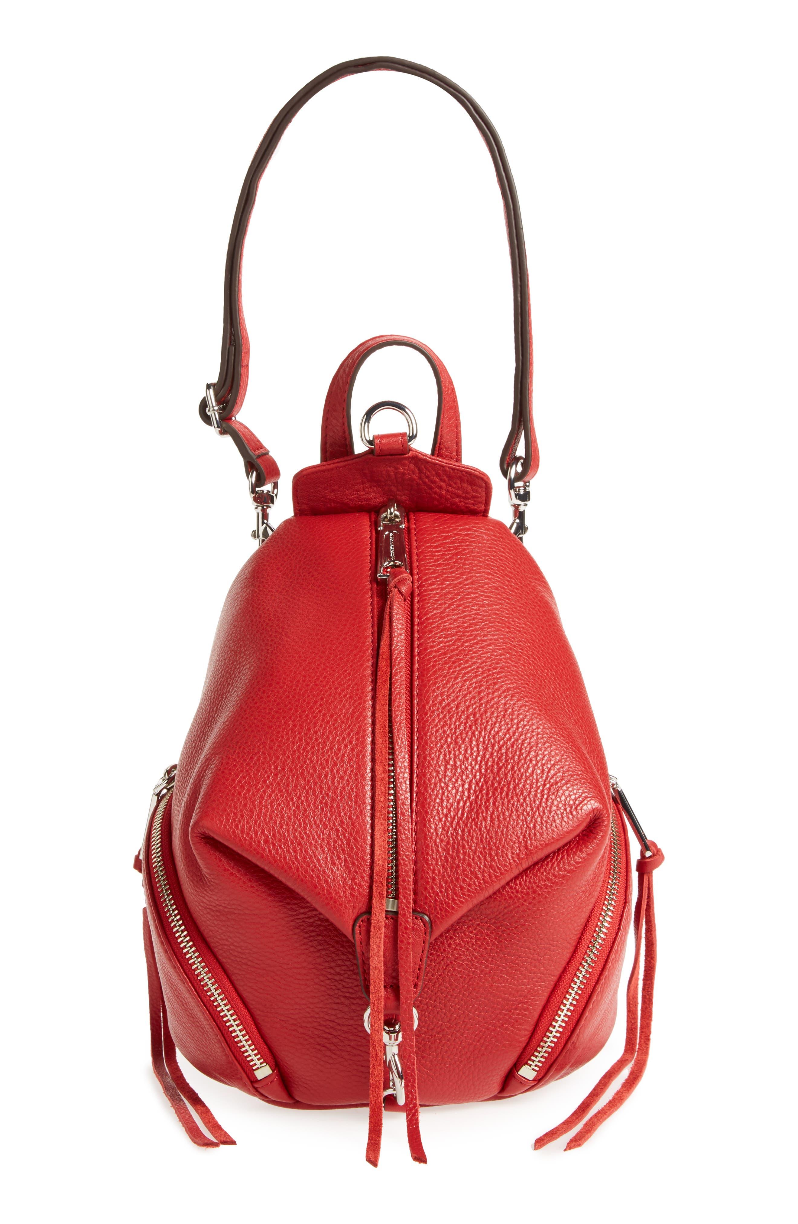Mini Julian Nubuck Leather Convertible Backpack,                             Alternate thumbnail 7, color,                             Scarlet