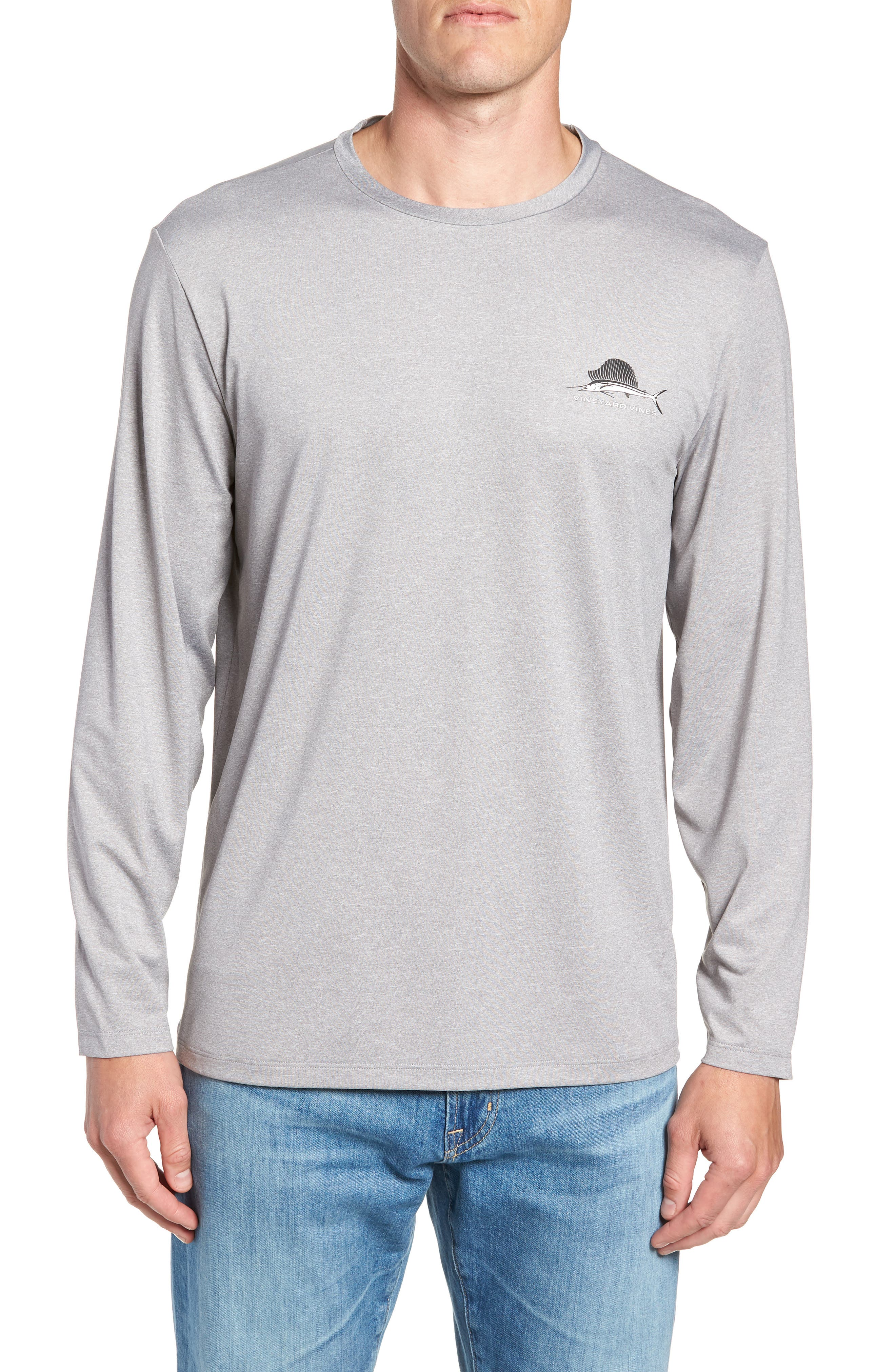Sailfish Logo Performance T-Shirt,                         Main,                         color, Grey Heather