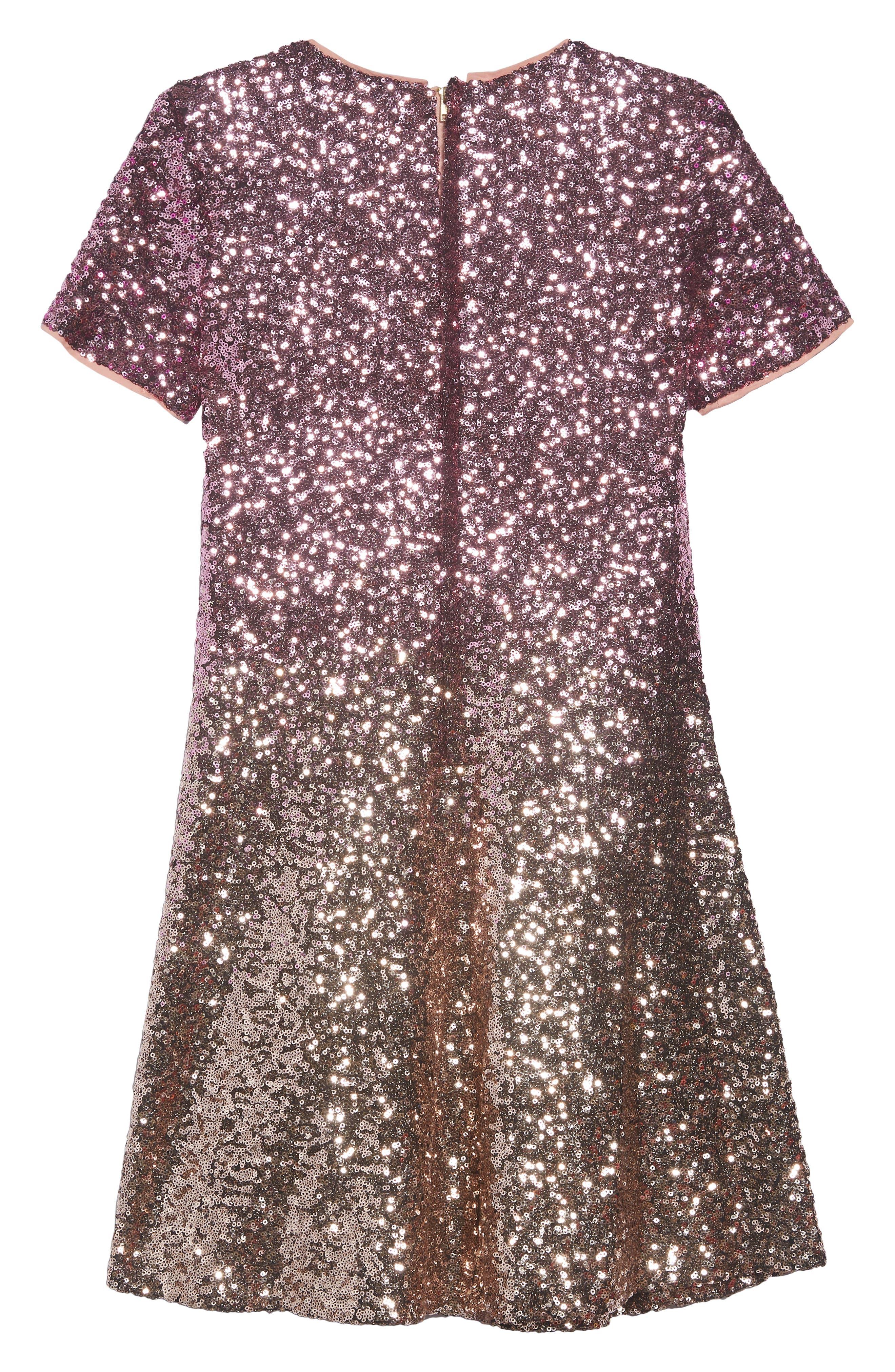 Ombré Sequin Skater Dress,                             Alternate thumbnail 2, color,                             Vanish Gold Sequins